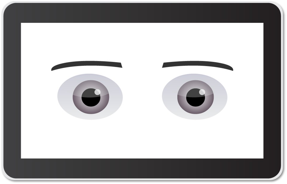 A view of Sawyer's  face  screen, showing the robot's eyes looking straight ahead.