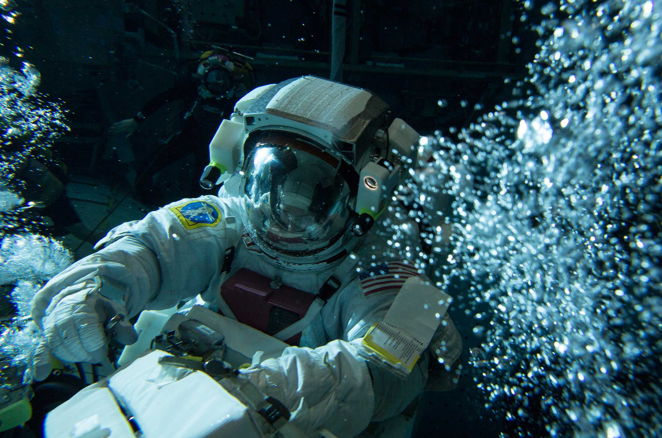 Scott Kelly completes underwater training for his first ever spacewalk on Feb. 2, in Houston, Texas.