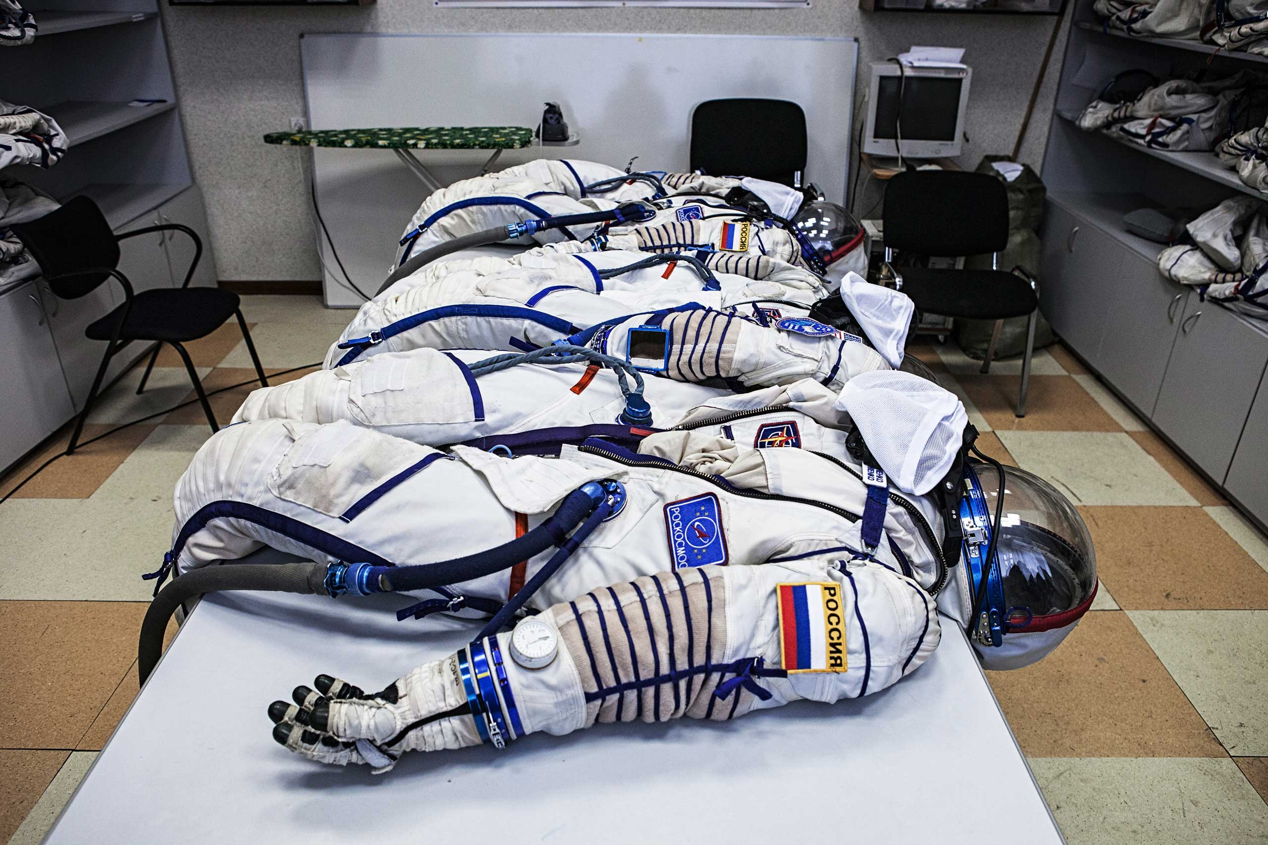 Russian Sokol suits, used for launch into orbit and reentry from space, are seen at the Yuri Gagarin Cosmonaut Training Center in Star City, Russia on March 5, 2015.