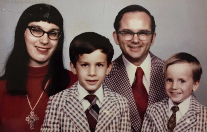 Scott Walker appears with his younger brother David and his parents Llew and Pat in this undated photo.
