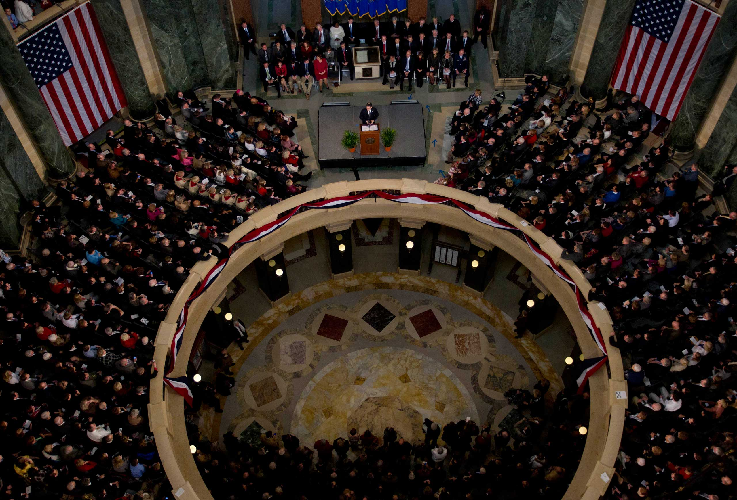 Wisconsin Gov. Scott Walker speaks at an inauguration ceremony in the rotunda of the state Capitol in Madison, Wis., on Jan. 3, 2011.