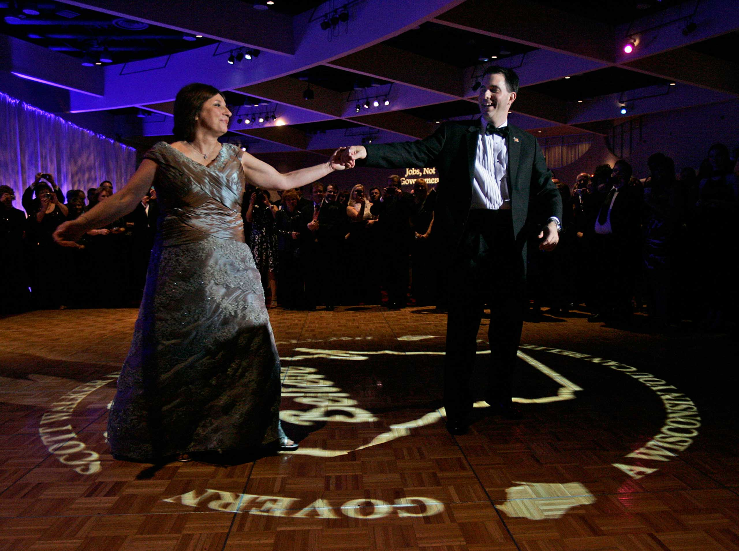 Scott Walker dances with his wife, Tonette, at the Inaugural Ball at Monona Terrace in Madison, Wis., on Jan. 3, 2011.