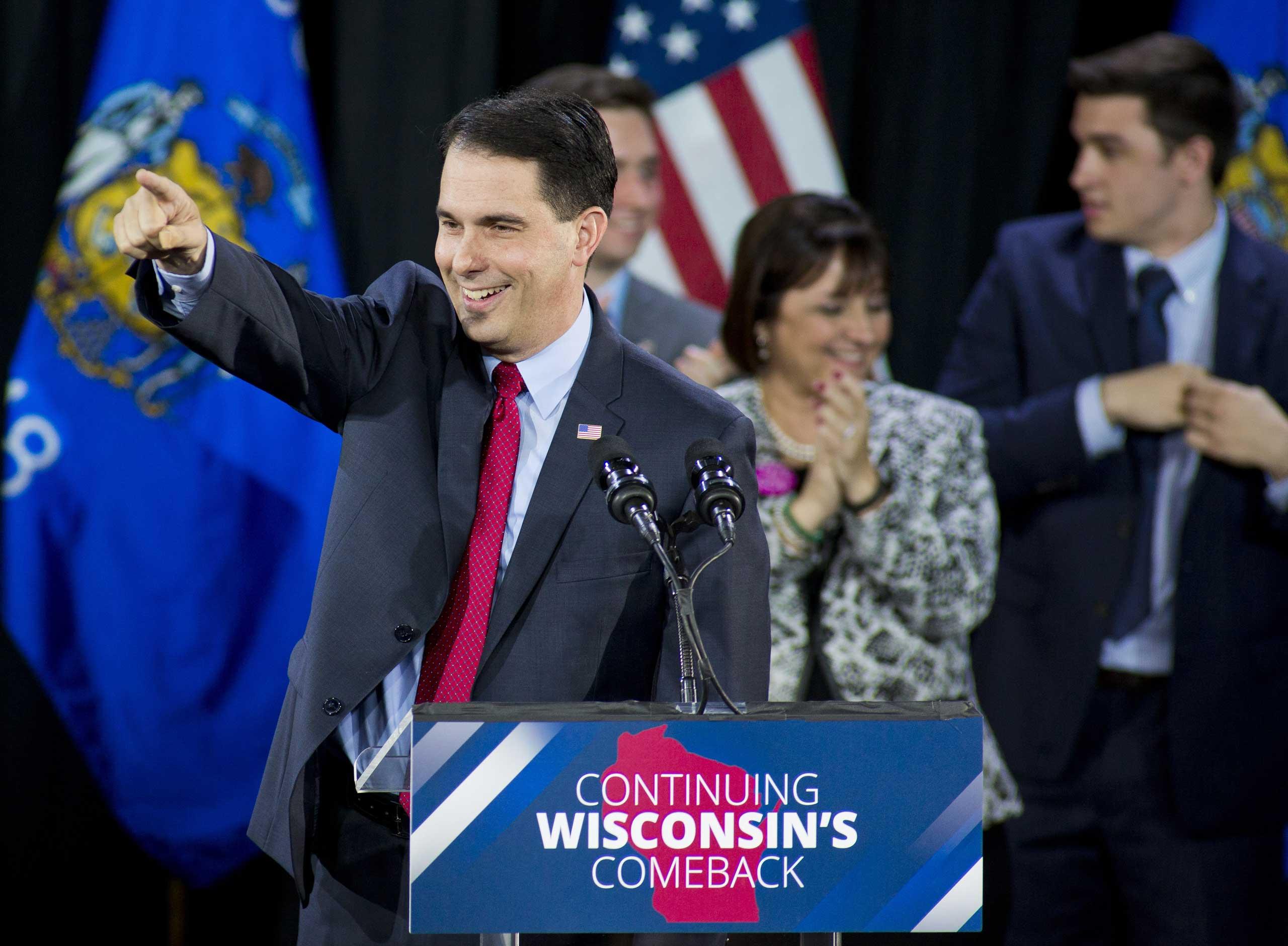 Wisconsin Gov. Scott Walker speaks at his election night party in West Allis, Wis., on Nov. 4, 2014