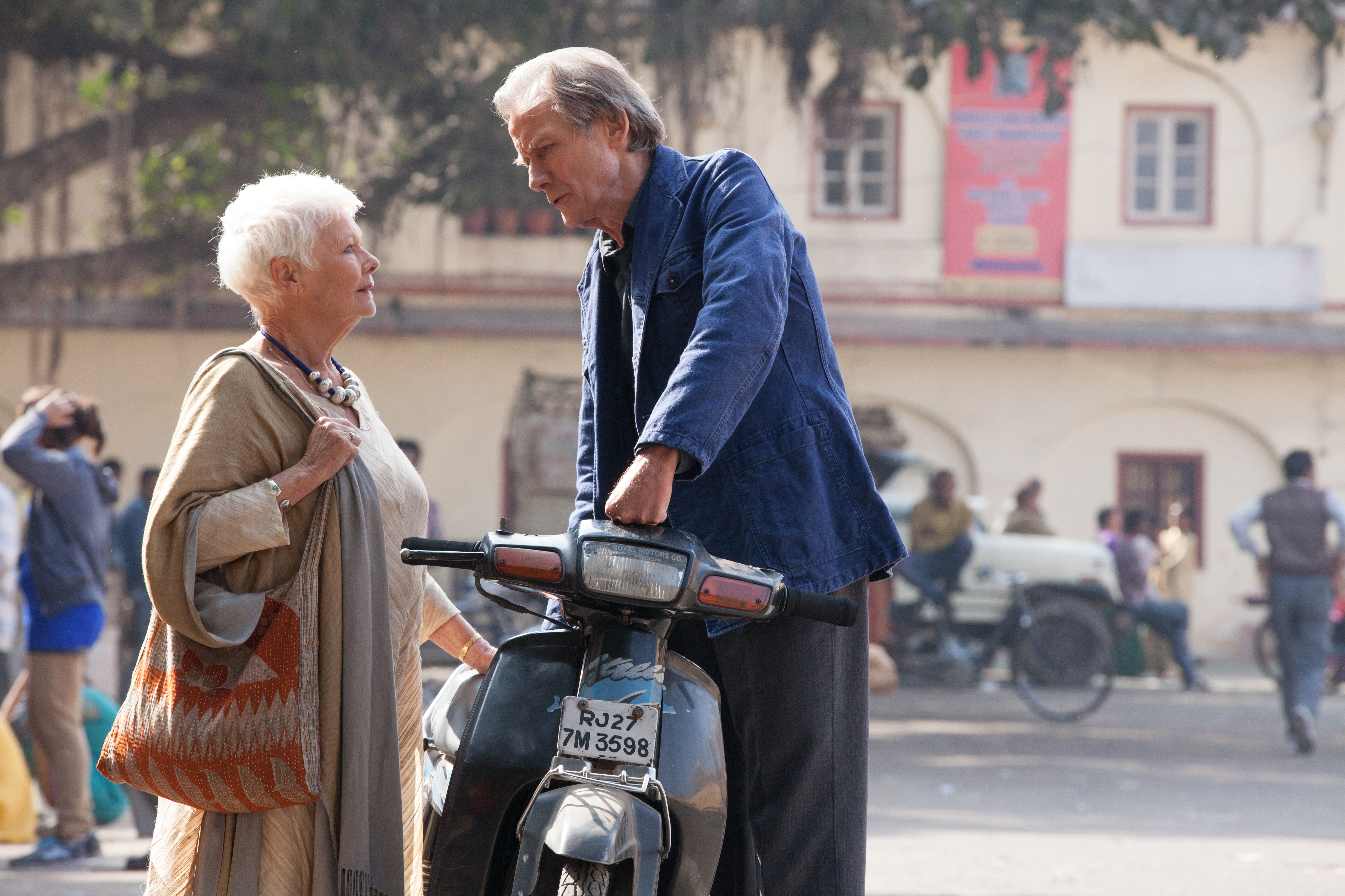 Judi Dench as Evelyn Greenslade and Bill Nighy as Douglas Ainslie in The Second Best  Exotic Marigold Hotel.