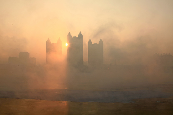 Smog arrives at the banks of Songhua River on Jan. 22, 2015, in Jilin, China