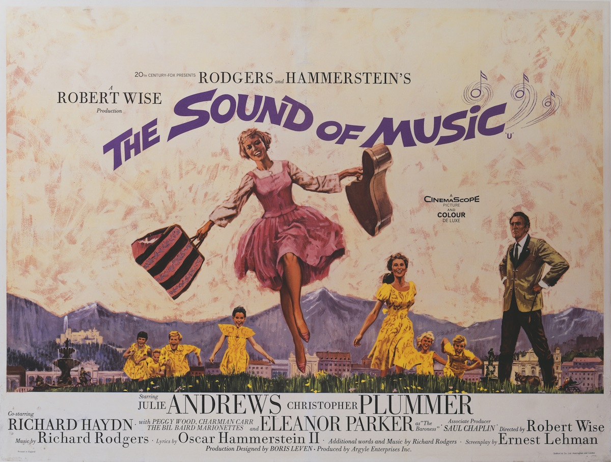 A poster for Robert Wise's 1965 drama 'The Sound of Music' starring Julie Andrews, Christopher Plummer, and Eleanor Parker