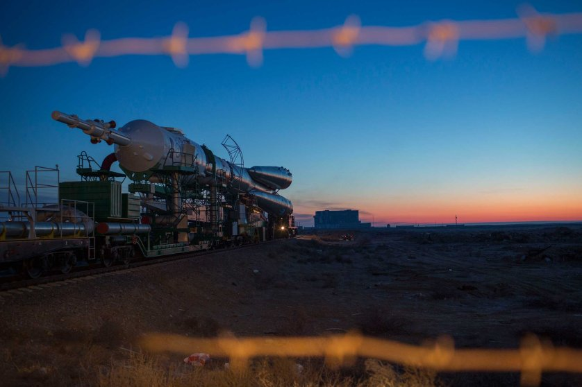 The Soyuz makes its slow crawl to Pad 1, also known as Yuri Gagarin's pad, at the Baikonur Cosmodrome in Kazakhstan on Wednesday, March 25. After the Soyuz is assembled, it is hauled by train to the site of the launch.