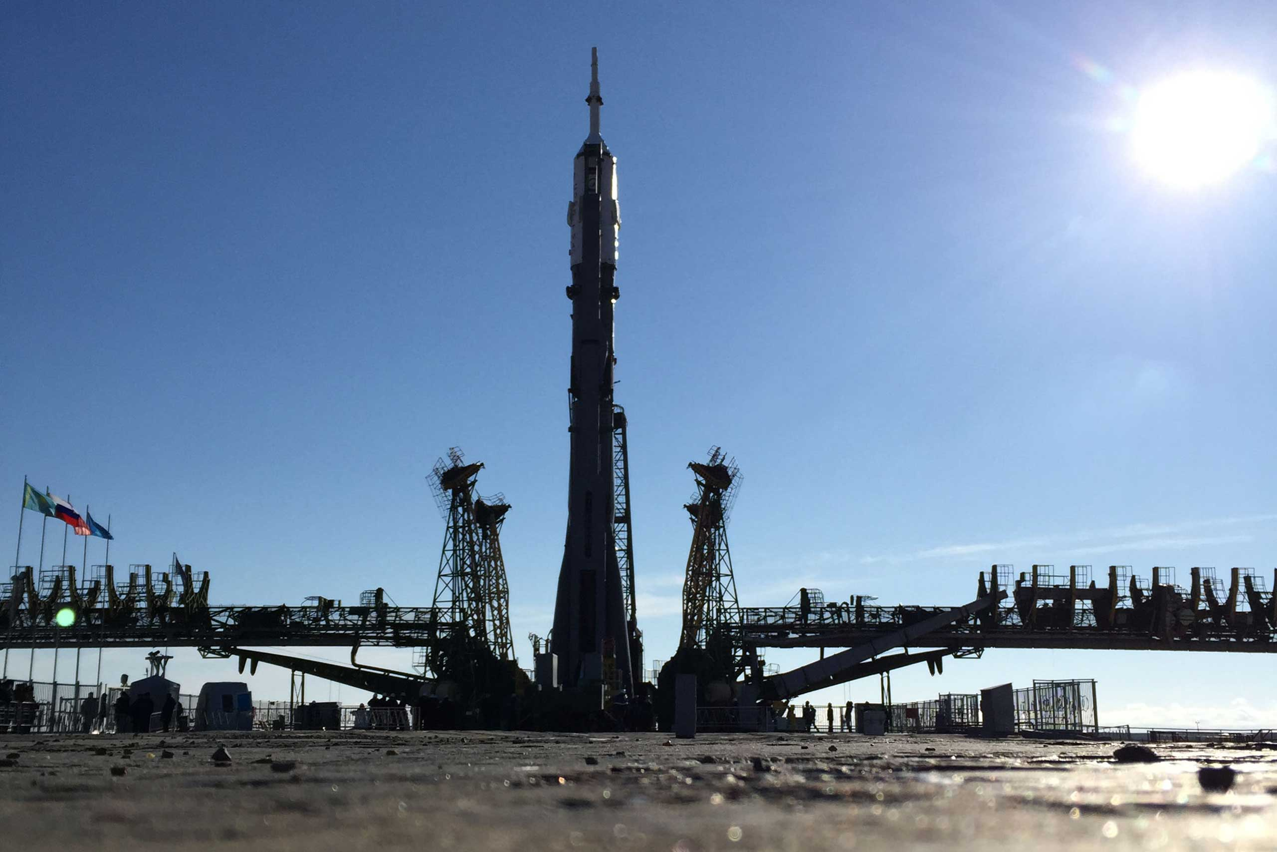 The Soyuz stands upright after being raised at the Baikonur Cosmodrome in Kazakhstan on Wednesday, March 25. The rocket will launch Friday, beginning a yearlong stay aboard the ISS by Scott Kelly and Mikhail Kornienko.
