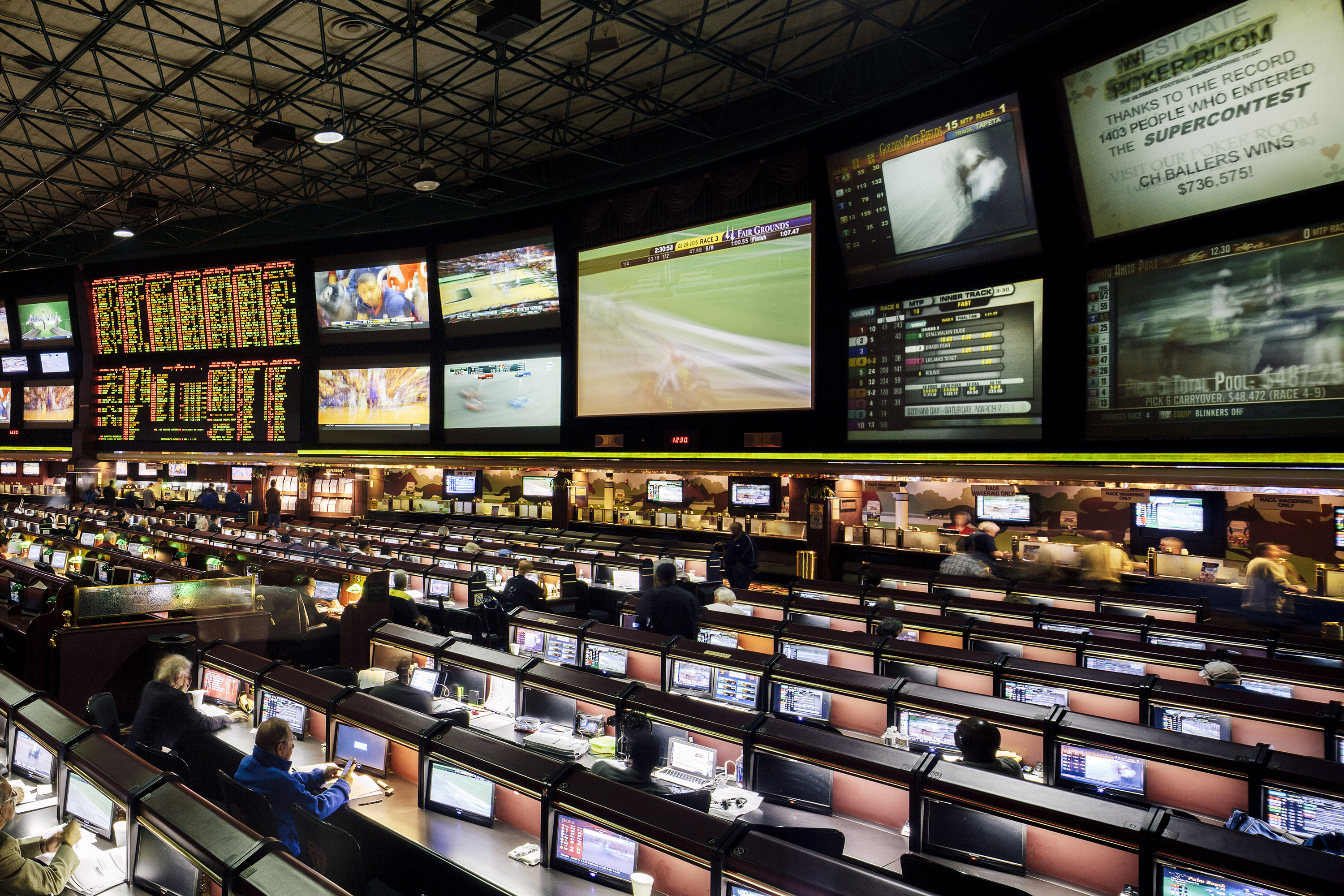 At over 30,000 sq. ft., Westgate Las Vegas SuperBook is the U.S.'s largest general sports-betting venue. With the high energy, being there is like watching a game in an arena.