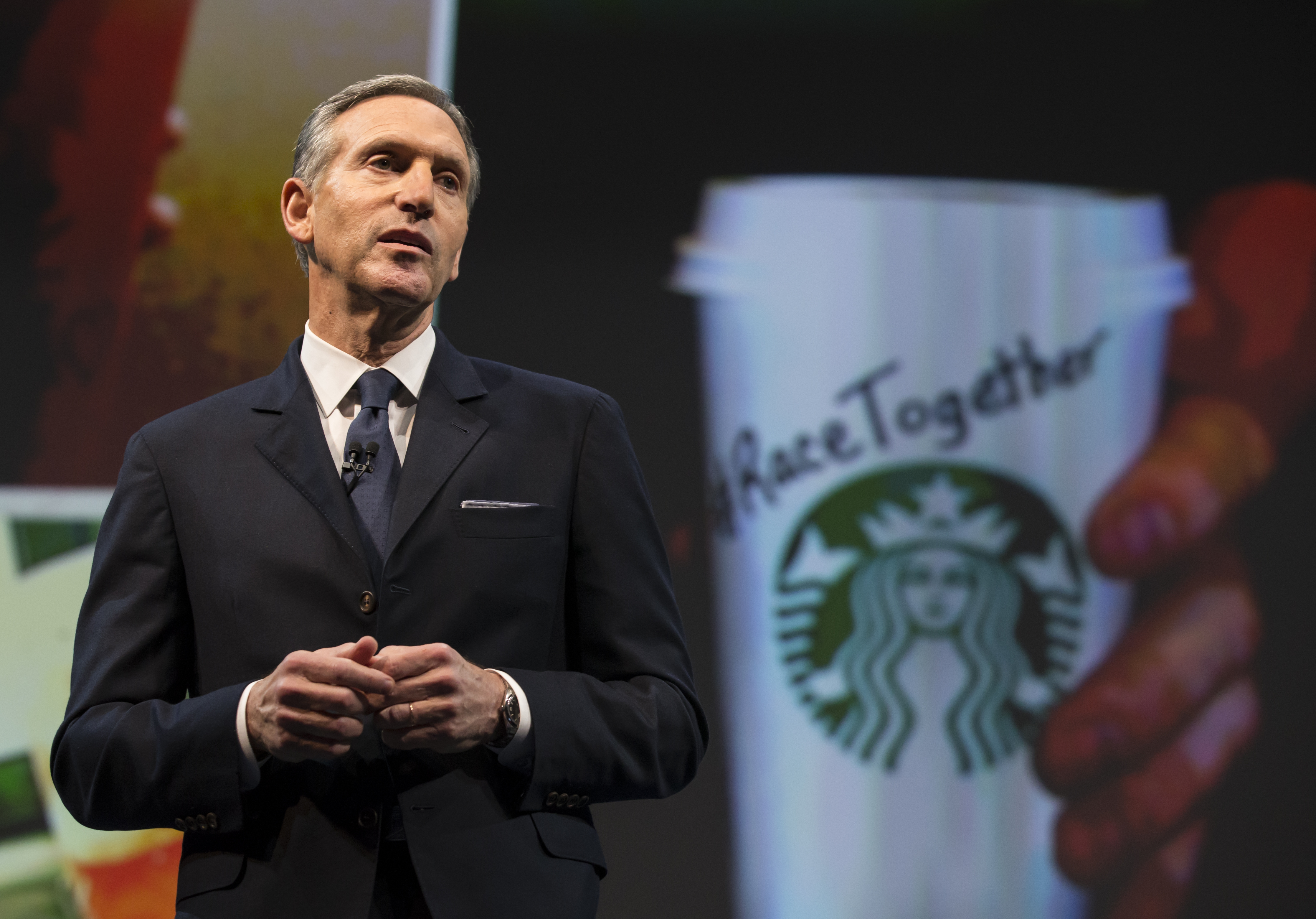 Starbucks Chairman and CEO Howard Schultz addresses the  Race Together Program  during the Starbucks annual shareholders meeting  on March 18, 2015 in Seattle, Wash.