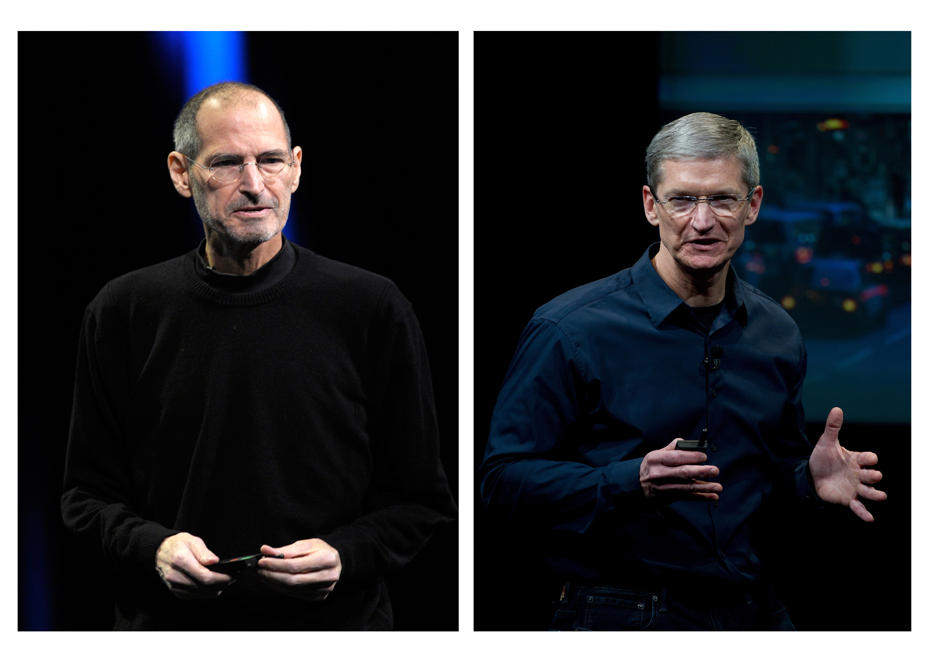 In this combination photo, Steve Jobs, former chief executive officer of Apple, left, unveils the iCloud storage system in San Francisco on June 6, 2011, while his successor Tim Cook speaks during an event at the company's headquarters in Cupertino, Calif., on Oct. 4, 2011
