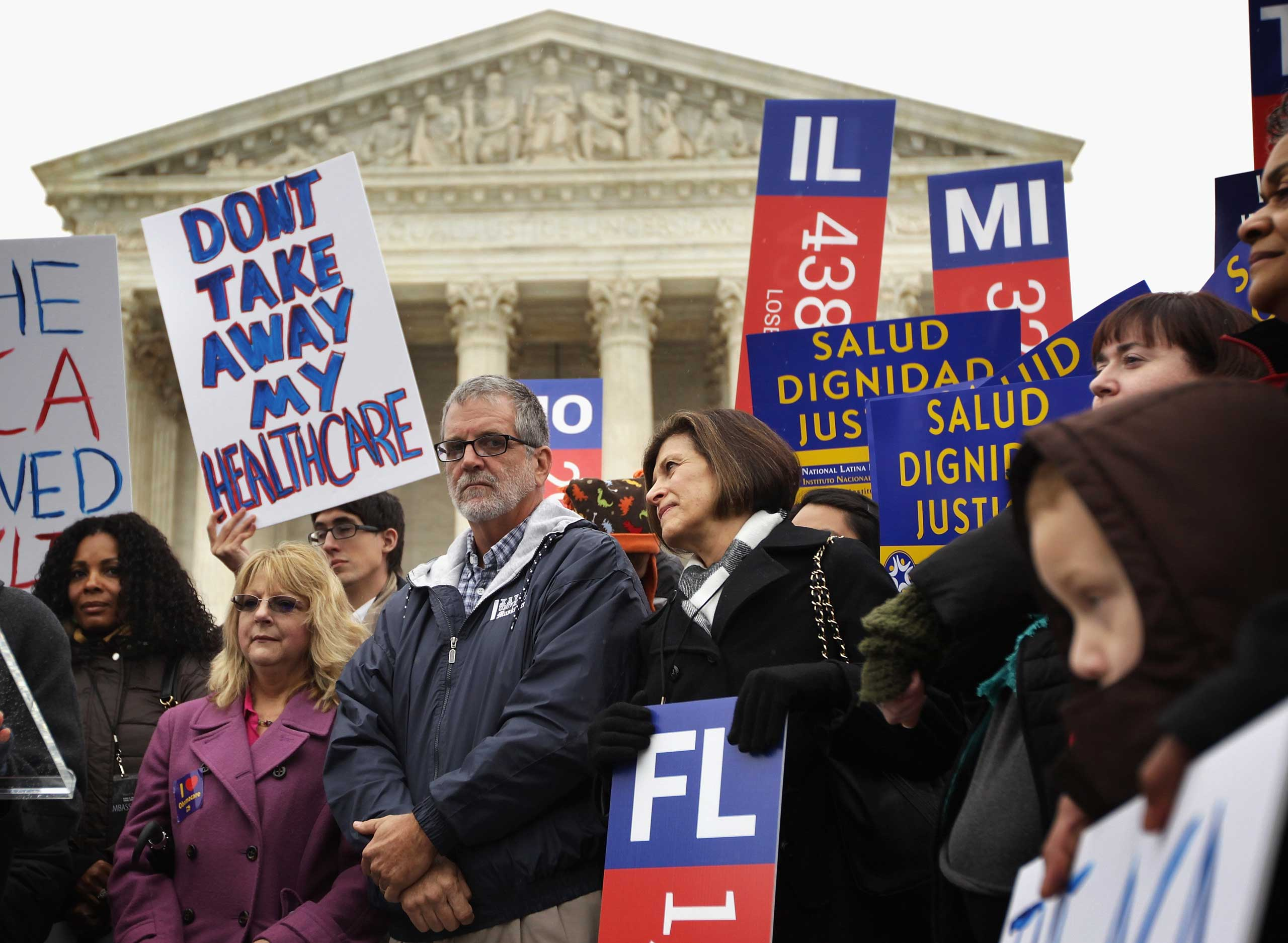 Supporters of the Affordable Care Act gather in front of the U.S Supreme Court during a rally in Washington on March 4, 2015.