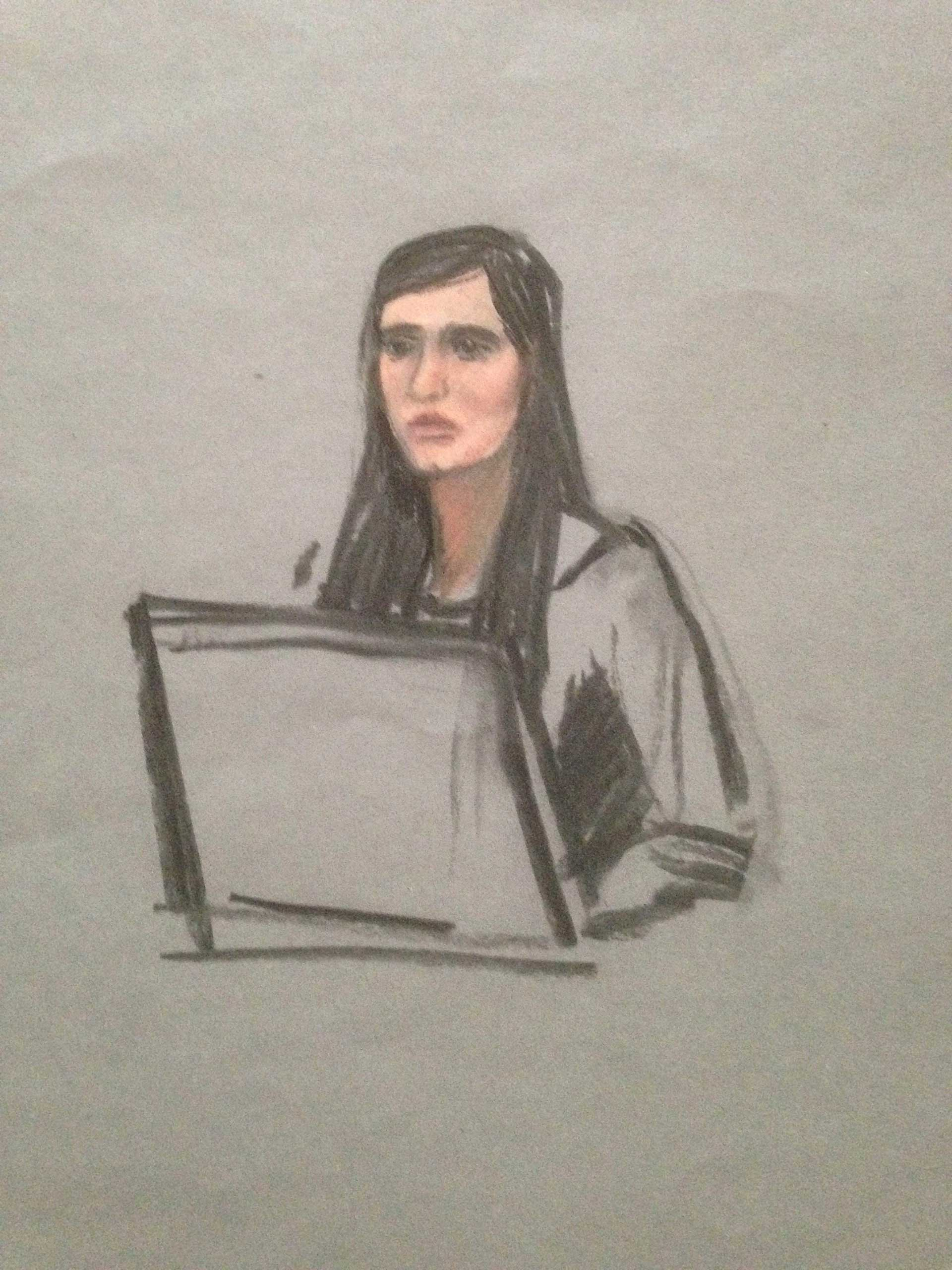 A courtroom sketch shows Boston Marathon bombing survivor Sydney Corcoran testifying in the trial of accused bomber Dzhokhar Tsarnaev at the federal courthouse in Boston, Mass., March 4, 2015.