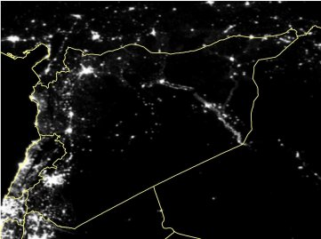 Satellite imagery of Syria in March 2011.