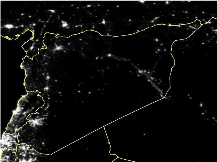 Satellite imagery of Syria in March 2012.