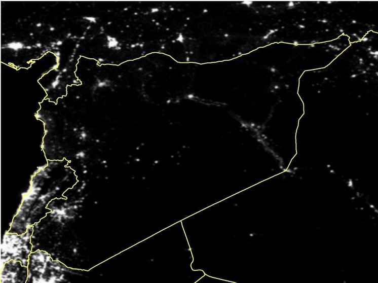 Satellite imagery of Syria in March 2013.