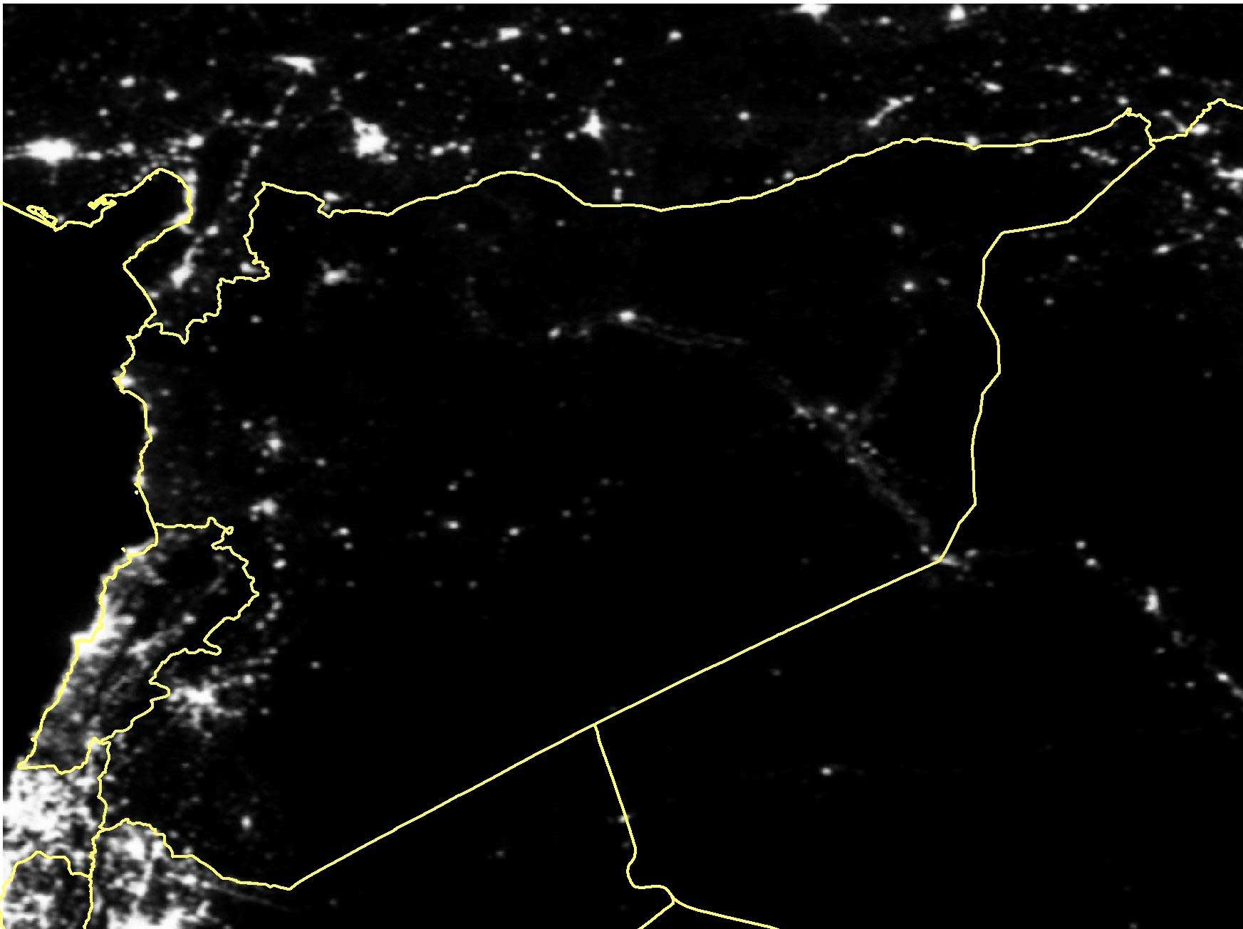 Satellite imagery of Syria in March 2014.