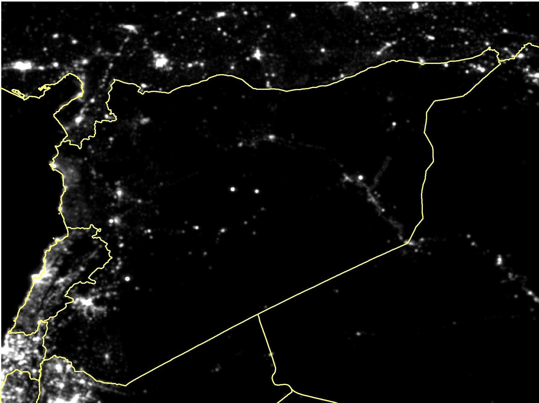Satellite imagery of Syria in September 2014.