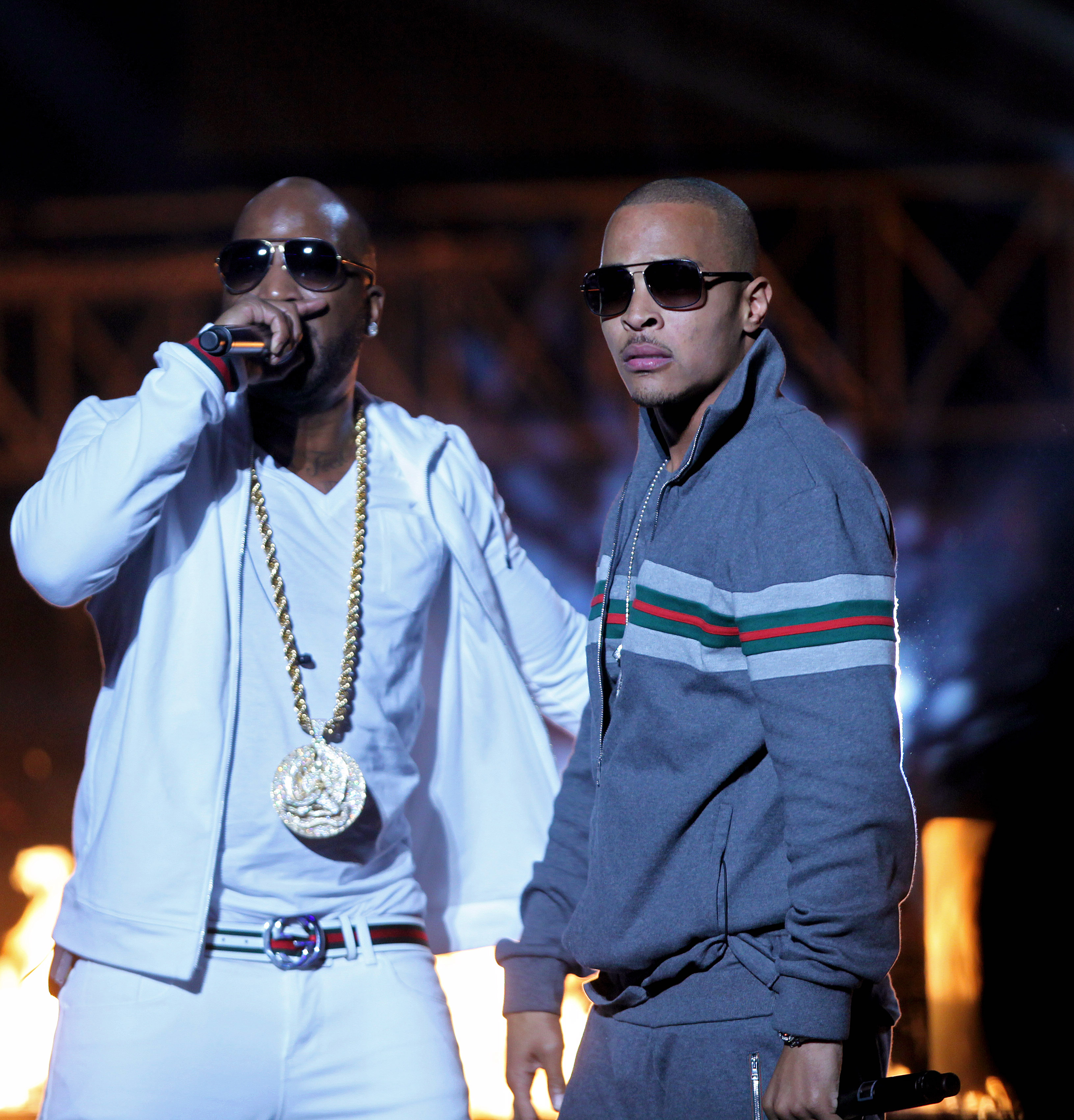 Rappers T.I. and Young Jeezy during the BET Hip Hop Awards in Atlanta on Oct. 1, 2011.