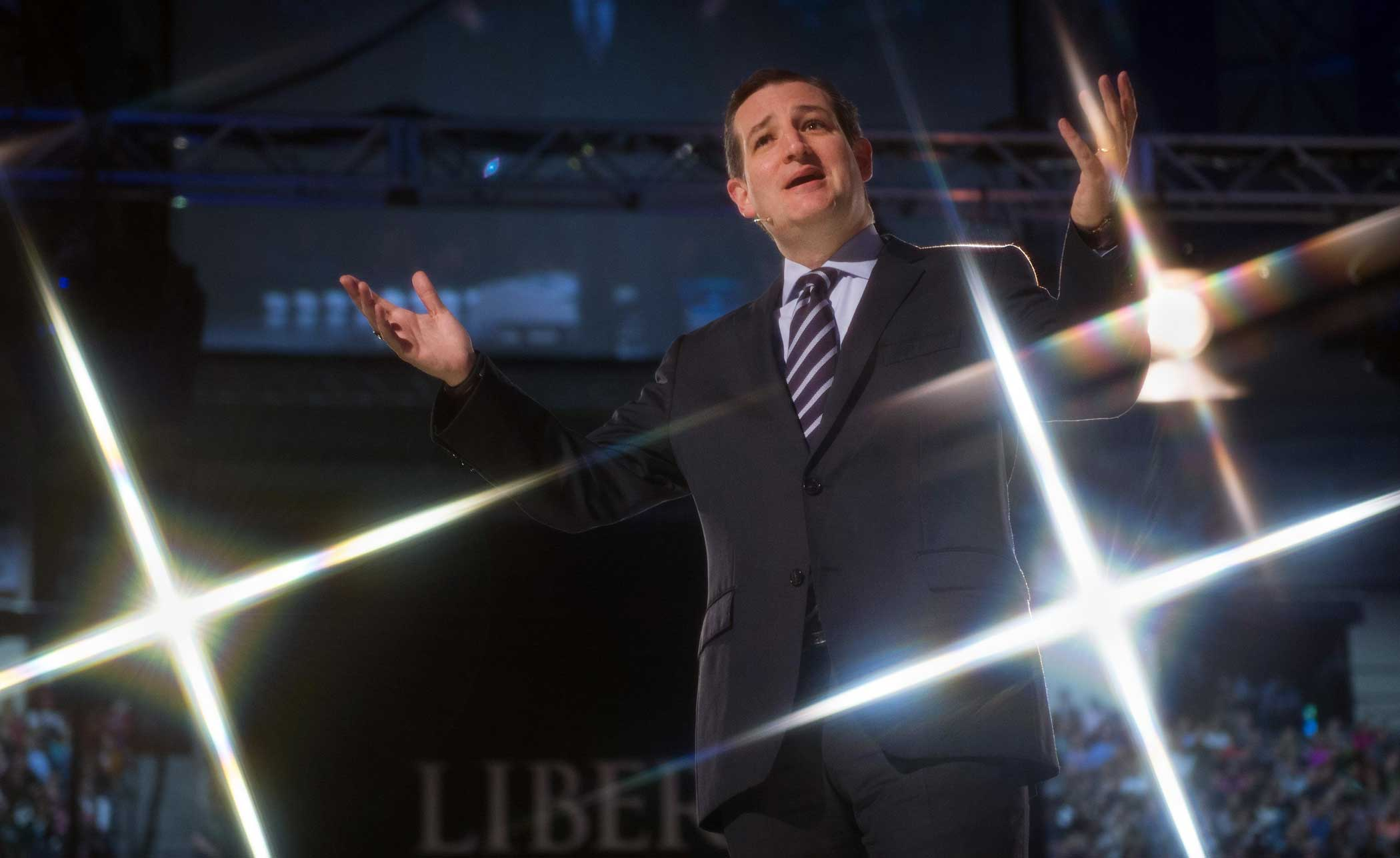 Senator Ted Cruz (R-TX) delivers remarks before announcing his candidacy for the Republican nomination to run for president on March 23, 2015, at Liberty University, in Lynchburg, Virginia.