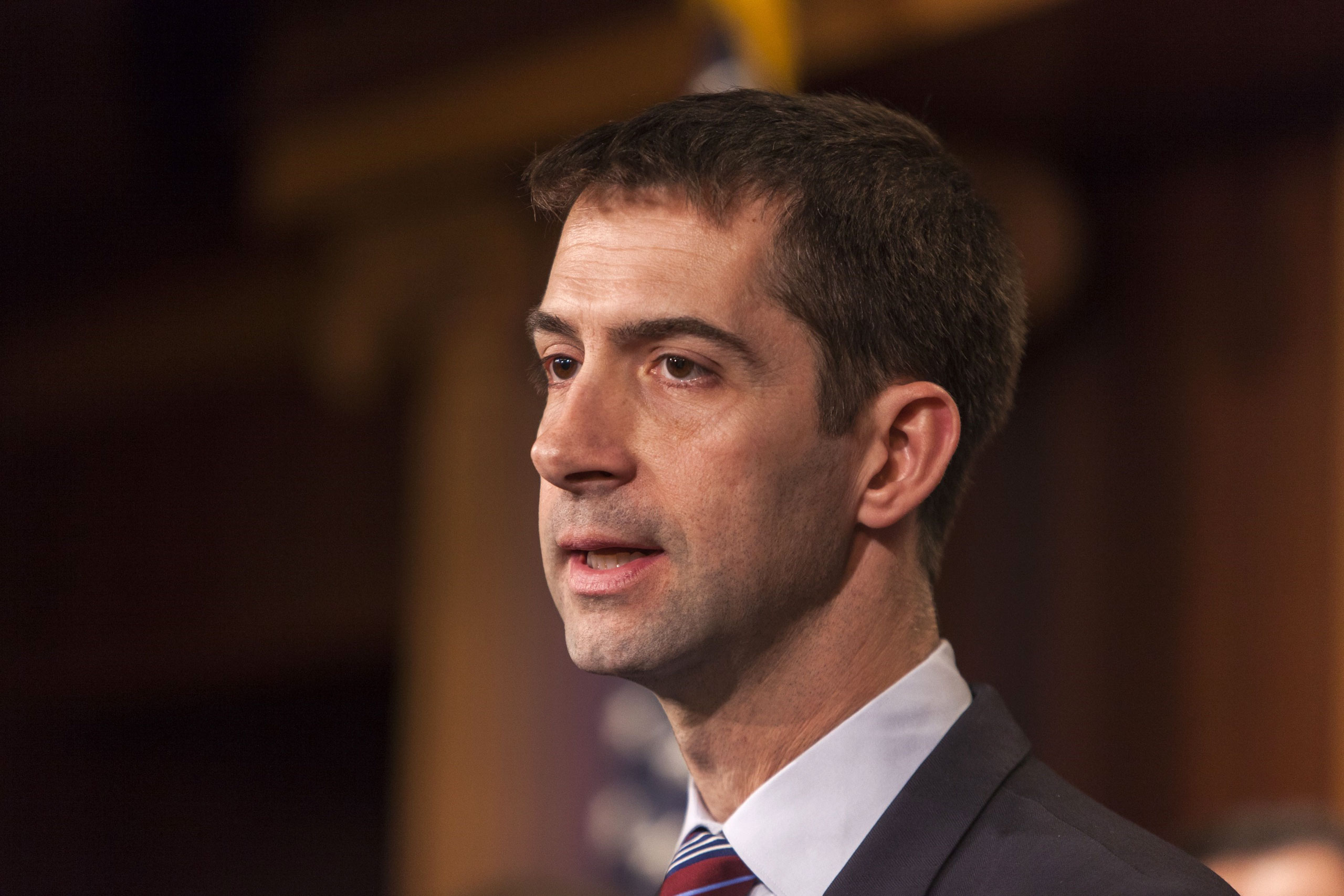Senator Tom Cotton speaks during a news conference with members of the Senate Armed Services Committee about arming Ukraine in the fight against Russia in Washington, D.C. on Feb. 5, 2015.