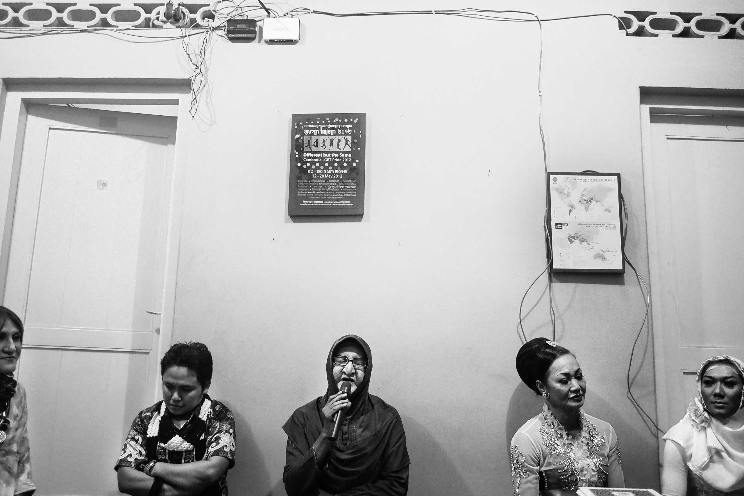 Shinta Ratri talks about sexuality and religion during a local annual meeting of LGBT and waria community in Yogyakarta.