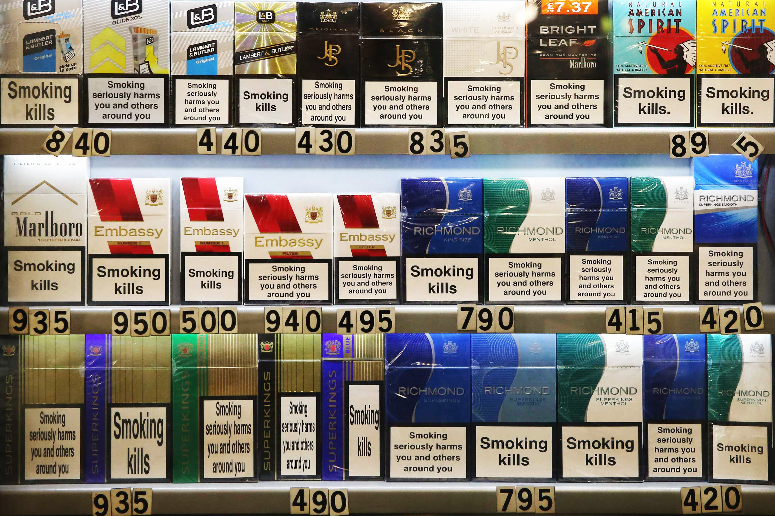 Cigarettes are sold on Jan. 22, 2015 in London, England.