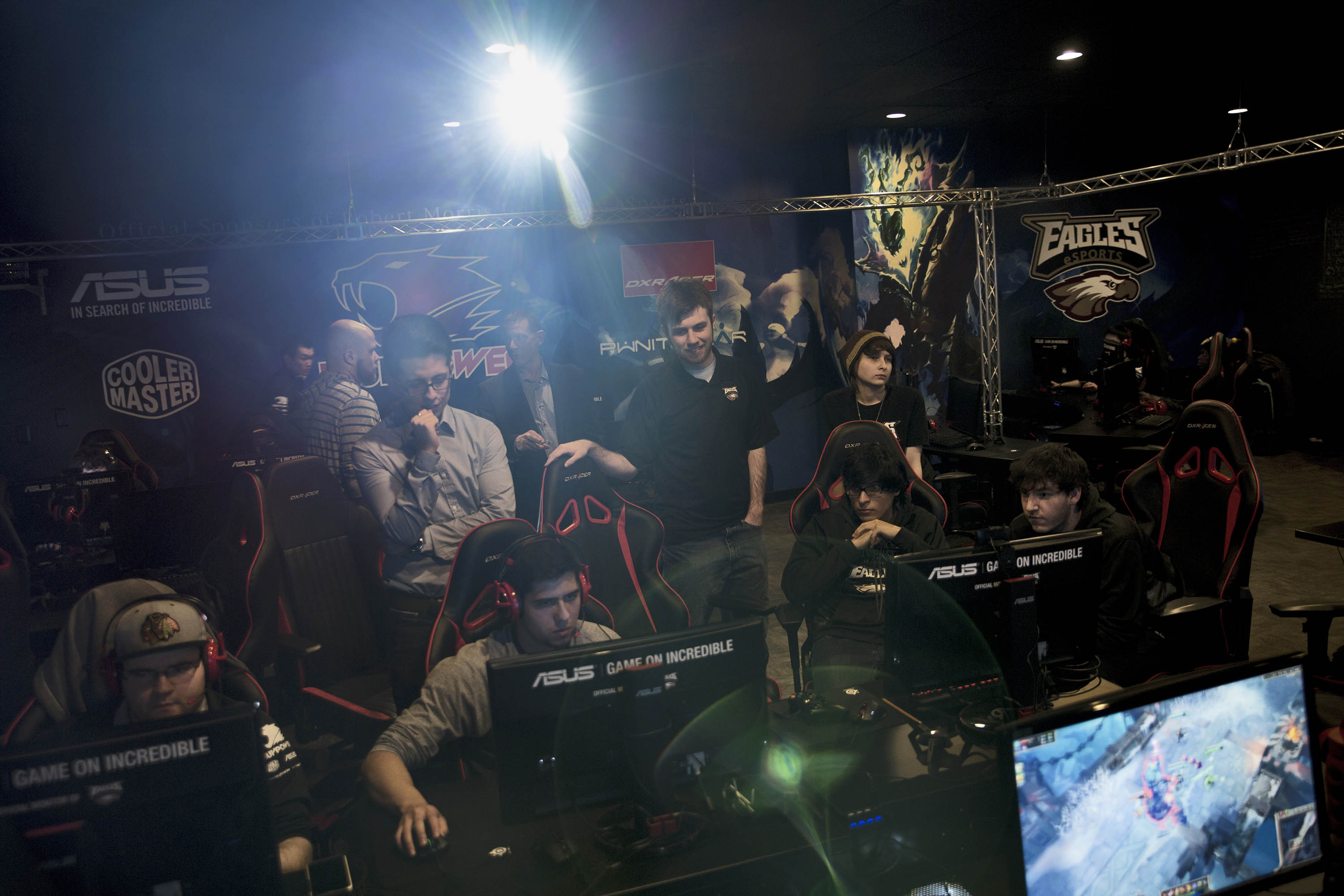 "Members of the Robert Morris University video-game team practice in the school's e-sports ""arena""."
