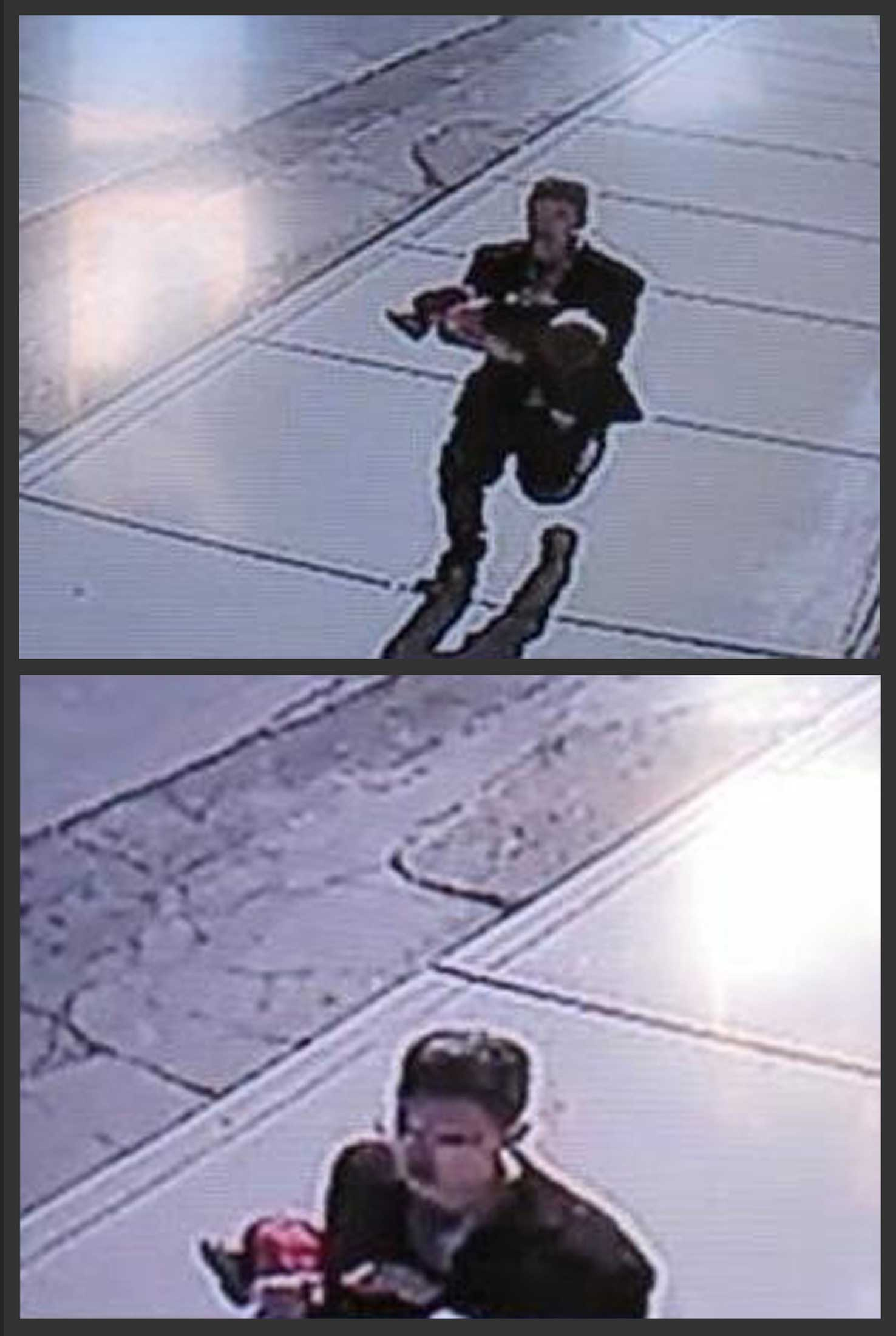 In this combination of still images taken from surveillance video on Sunday, March 8, 2015, and provided by the Lincoln County Sheriff's Office, a man runs down a street, carrying a toddler in an apparent kidnapping attempt in Sprague, Wash.