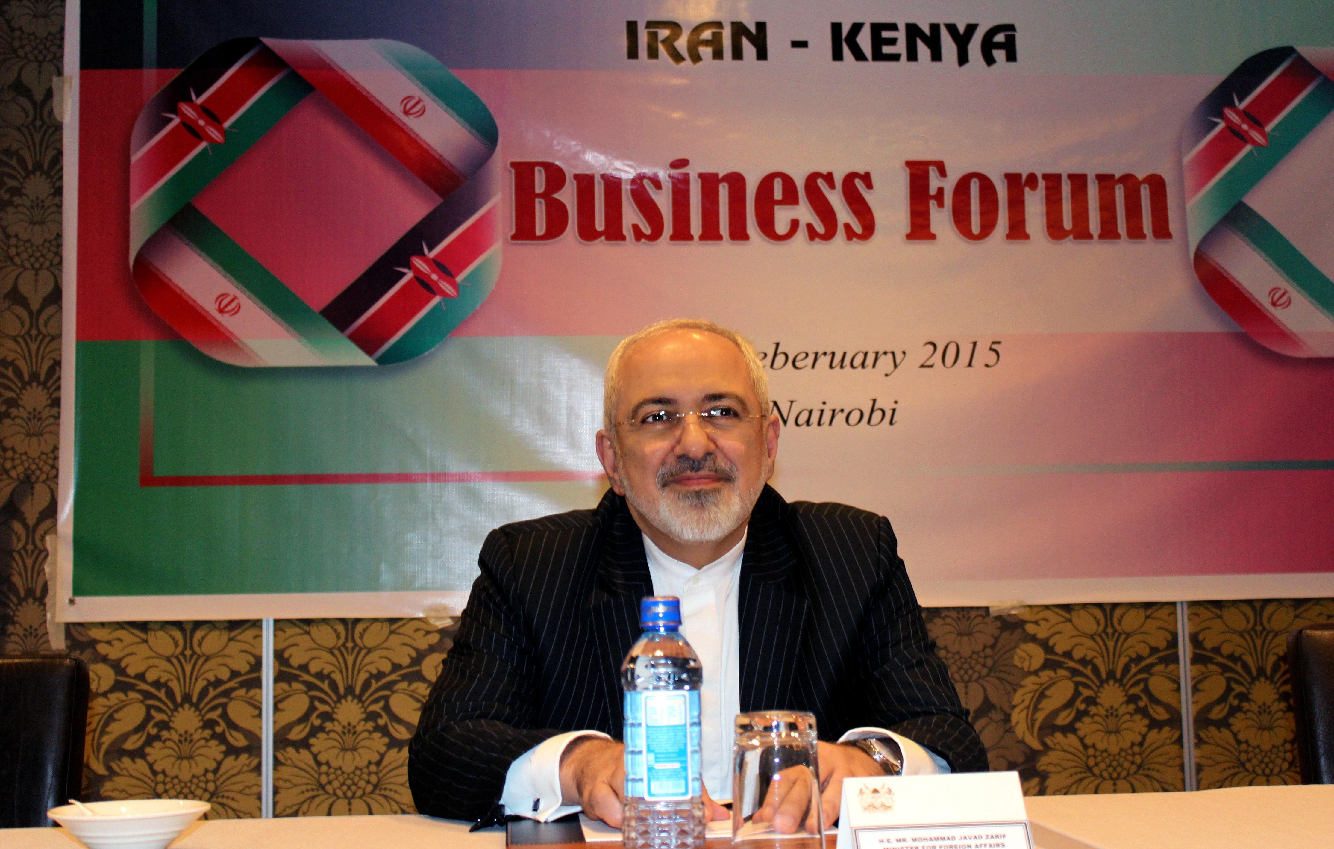 Iranian Foreign Minister Mohammad Javad Zarif attends Iran-Kenya business forum in Nairobi, Kenya on Feb. 2, 2015.