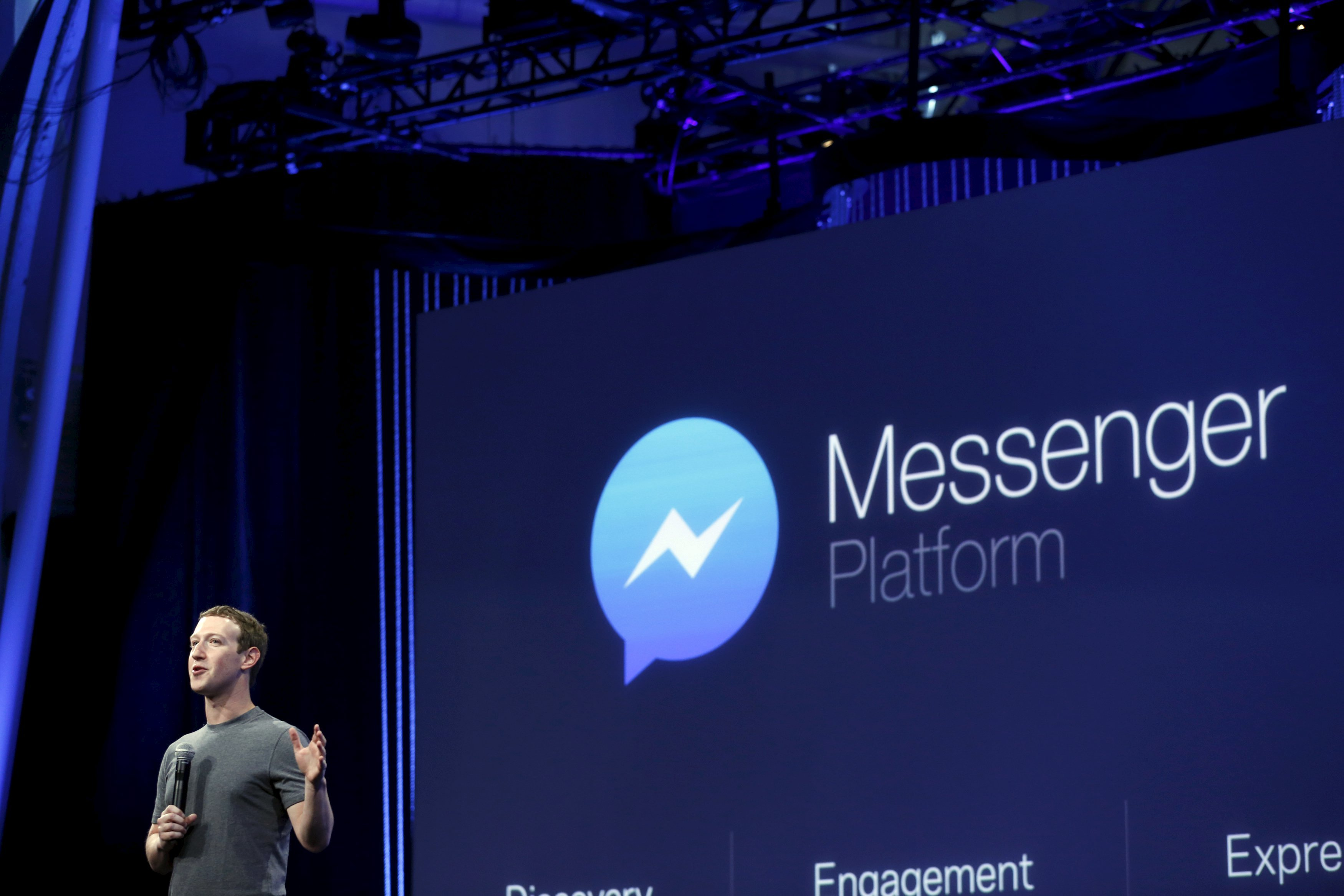 Facebook CEO Mark Zuckerberg speaks during his keynote address at Facebook F8 in San Francisco on March 25, 2015.