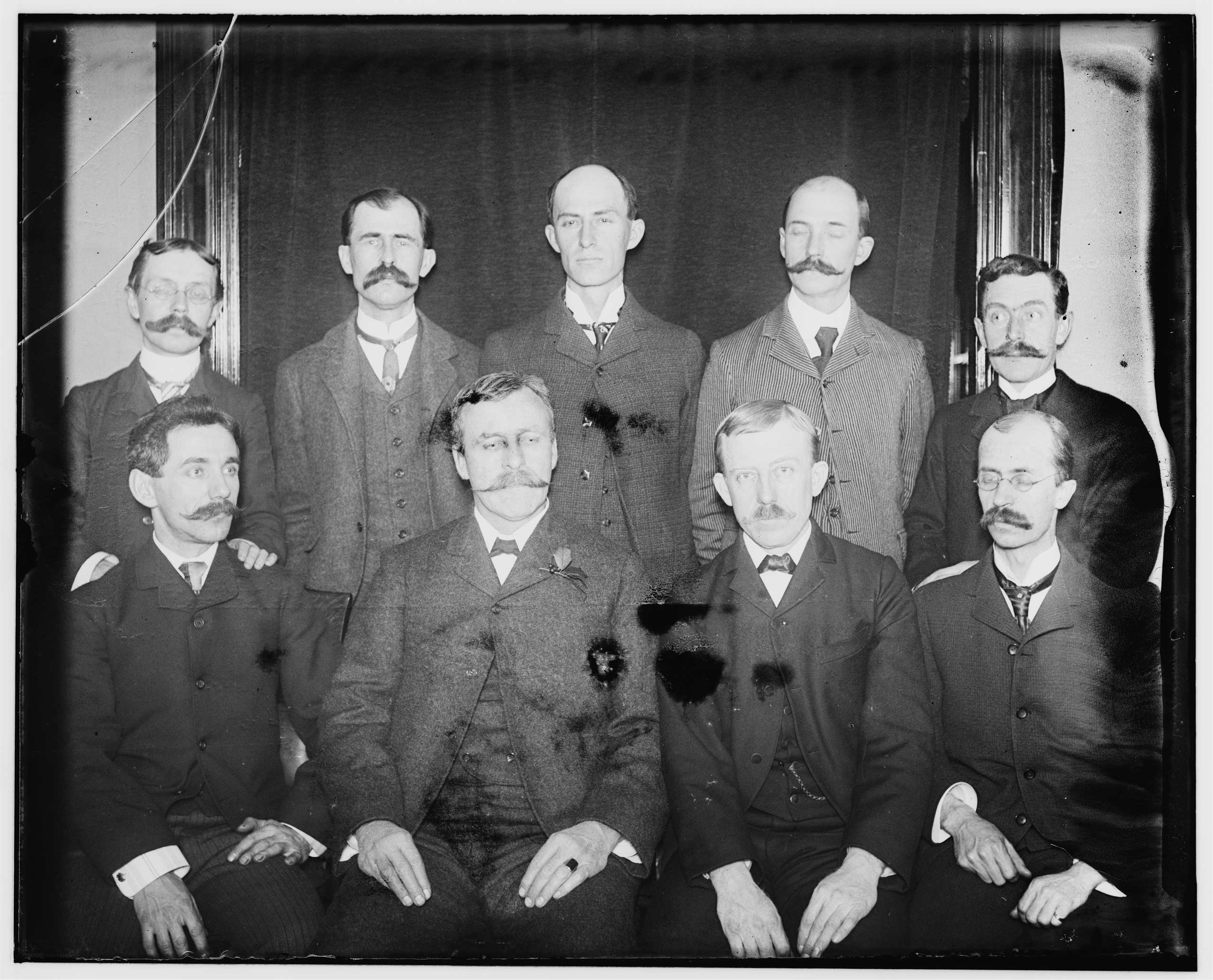 THE WRIGHTS: Orville and Wilbur Wright are famous for flying, but they weren't the only siblings in the family. Wilbur Wright (no mustache) is pictured here with Reuchlin Wright next to him, on the left, and Lorin Wright, seated lower left. Katharine Wright is not pictured.