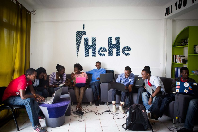 "Fellows in the Code Club 2015 work at the Hehe Labs headquarters at ""The Office"" in Kigali, Rwanda, a co-working space for young entrepreneurs."