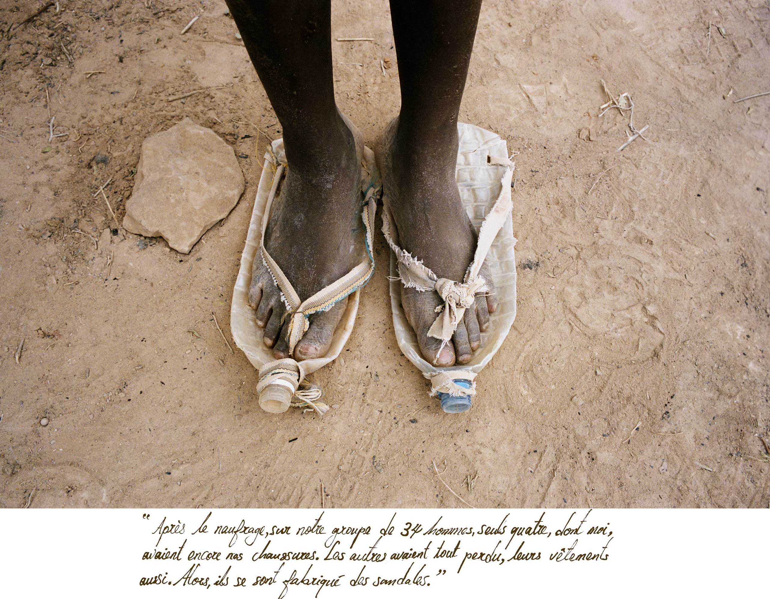 After a shipwreck off the coast of Morocco in Nov. 2004, only four of 34 men still had their shoes. The others lost everything, including their clothes, and had to make sandals out of makeshift items such as plastic bottles.