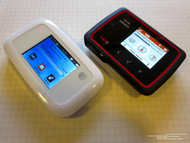 The AT&T Velocity's touchscreen beats the Verizon Jetpack's buttons.