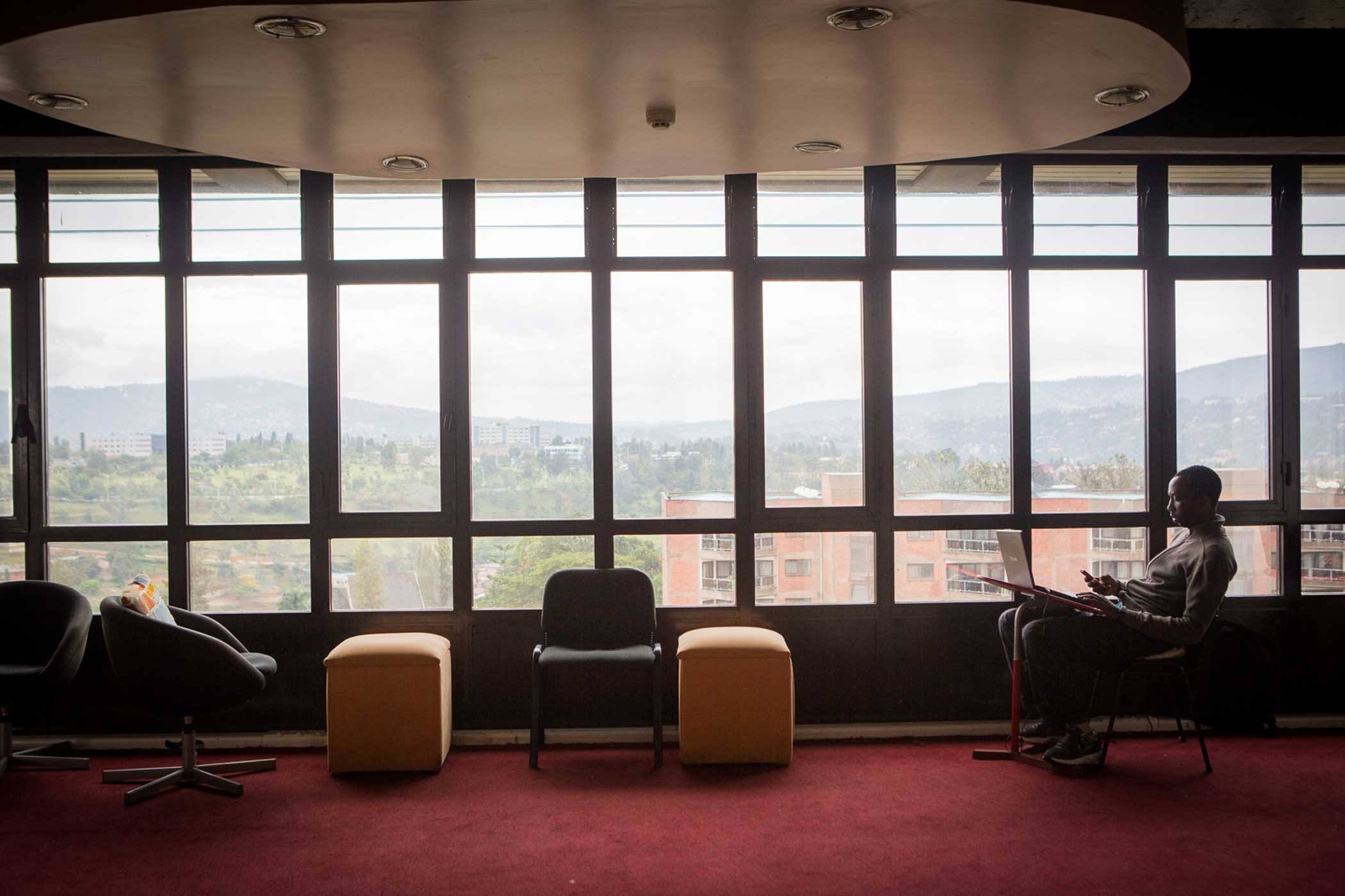Inside kLab, a co-working space for tech entrepreneurs located in Telecom House in Kigali's future high-tech ICT neighborhood, Kacyiru.