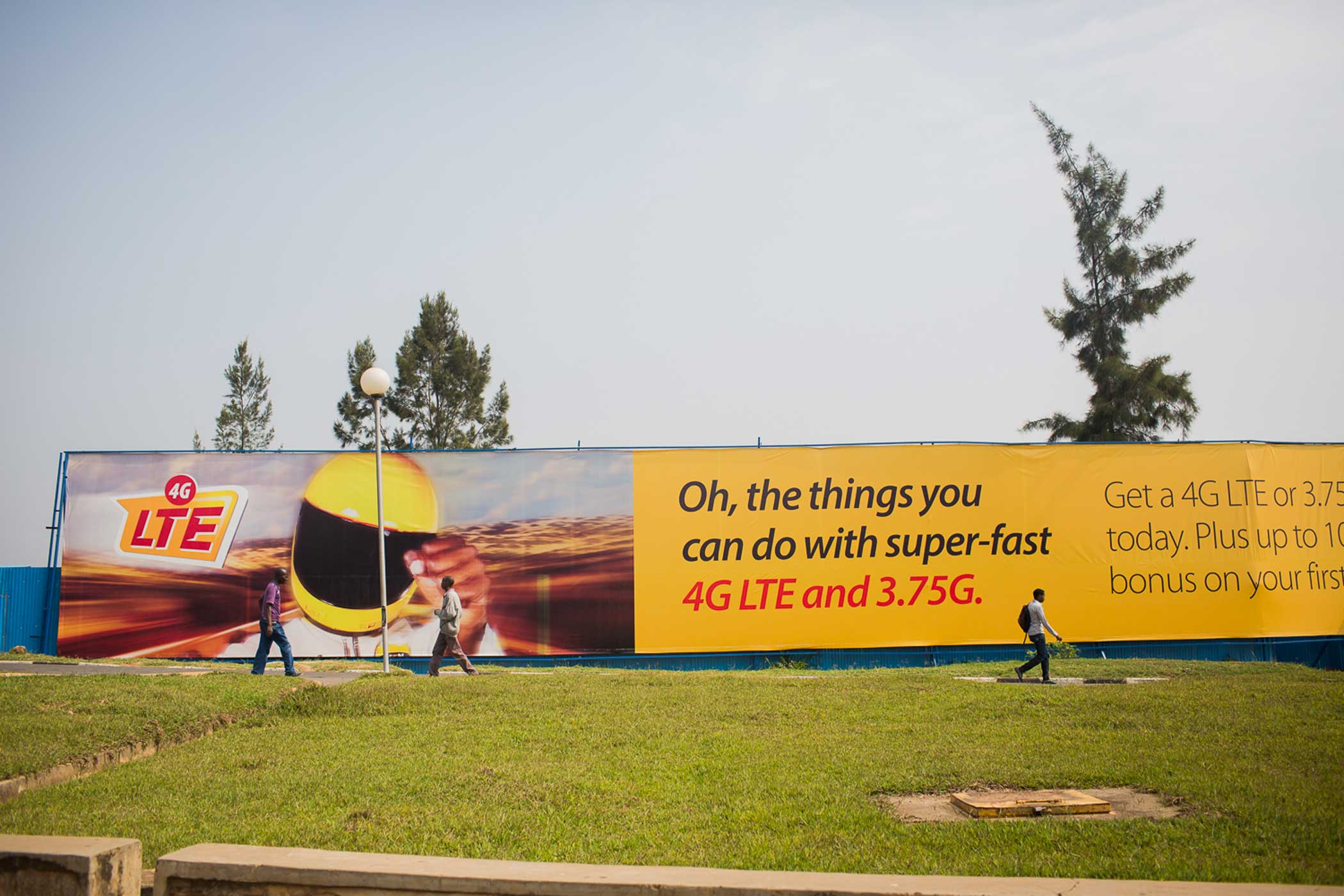 A government-sponsored fiber-optic cable expansion project was completed in 2011, improving telecommunication services throughout the country. Advertisements for phone service providors can be seen all over Kigali, even painted on family homes.