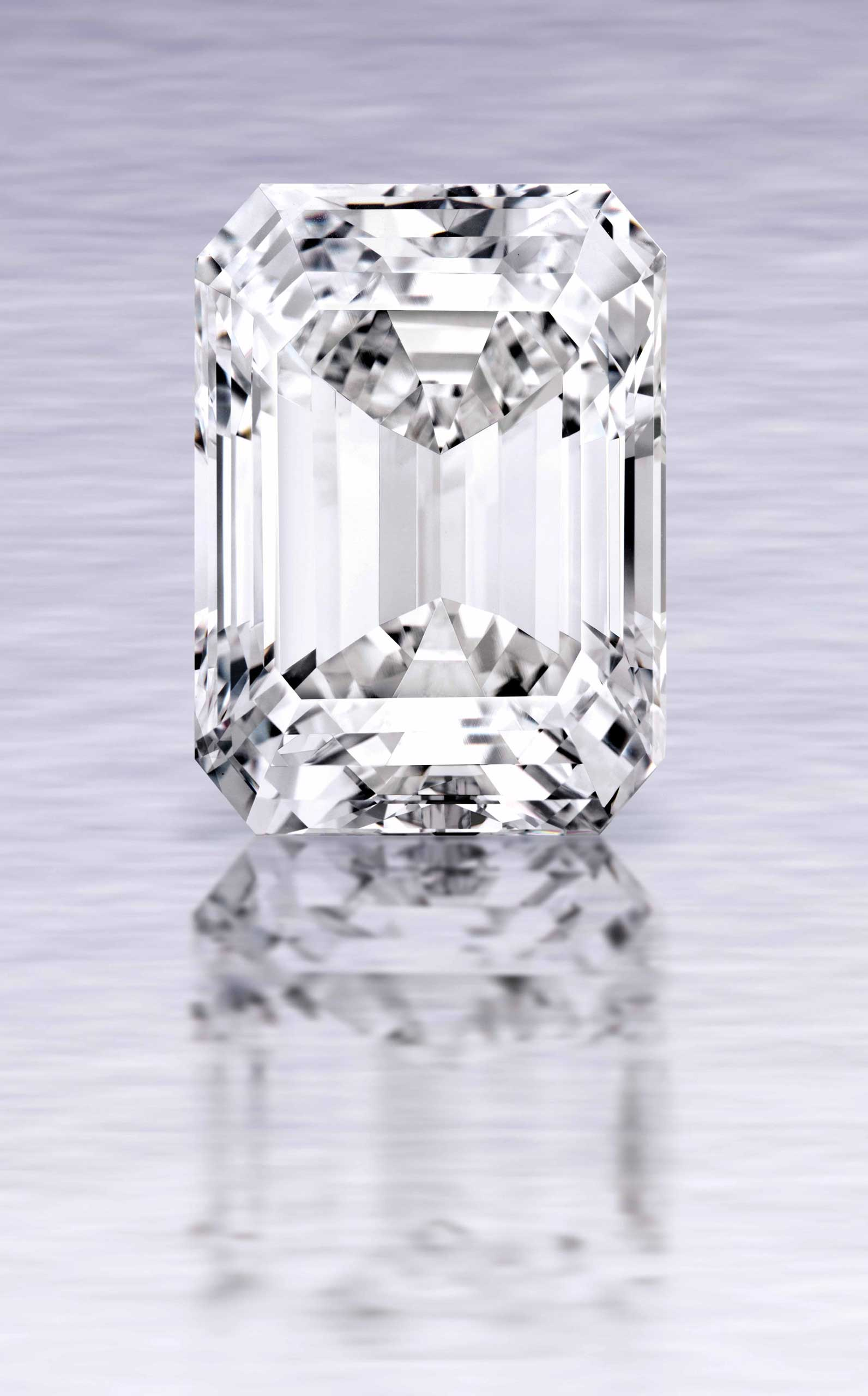 A 100-carat emerald-cut D color diamond, which was mined by De Beers in southern Africa.