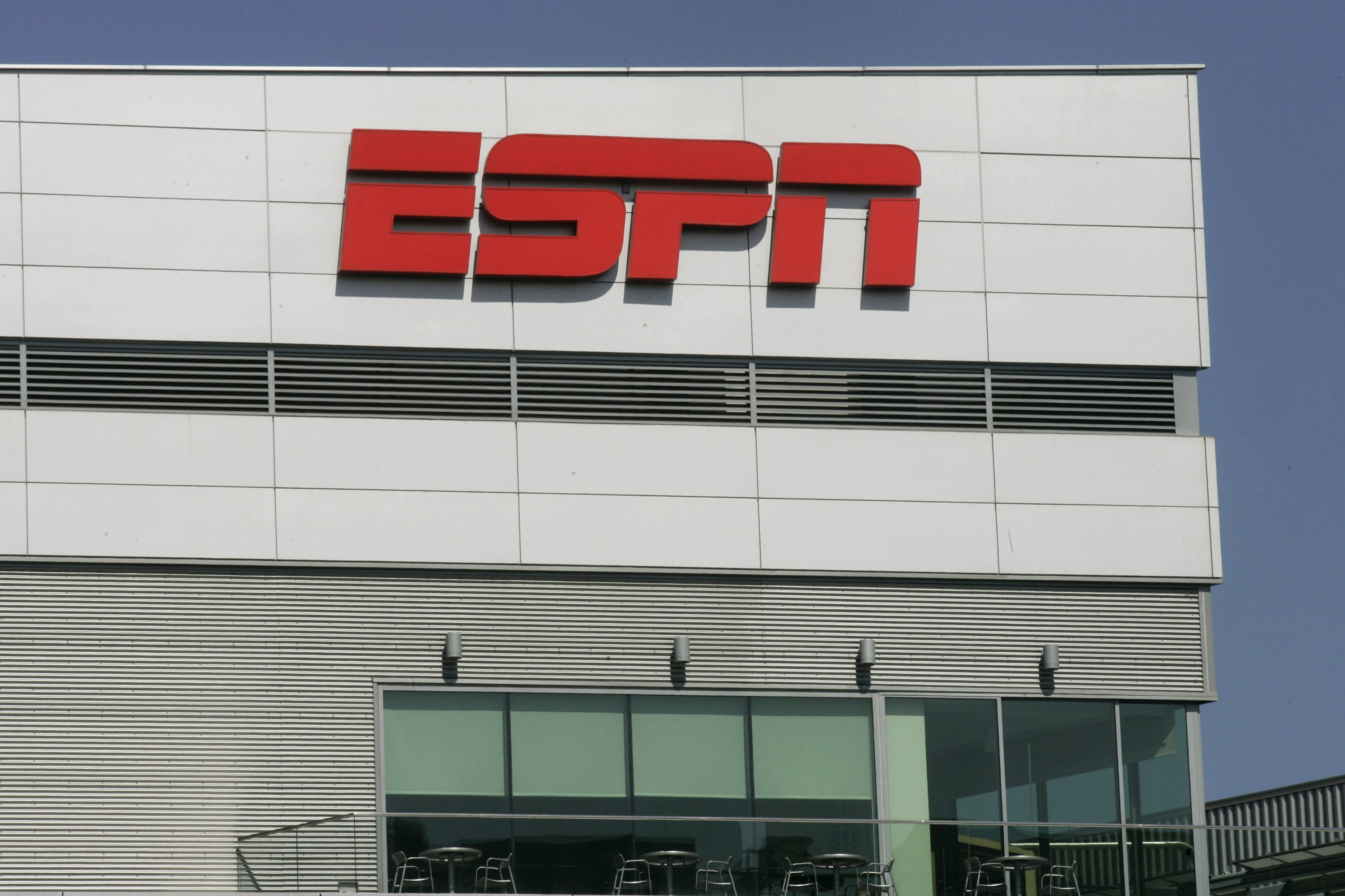 The ESPN logo is displayed outside L.A. Live, which houses the ESPNZone, in Los Angeles, California, U.S., on Tuesday, Aug. 31, 2010.
