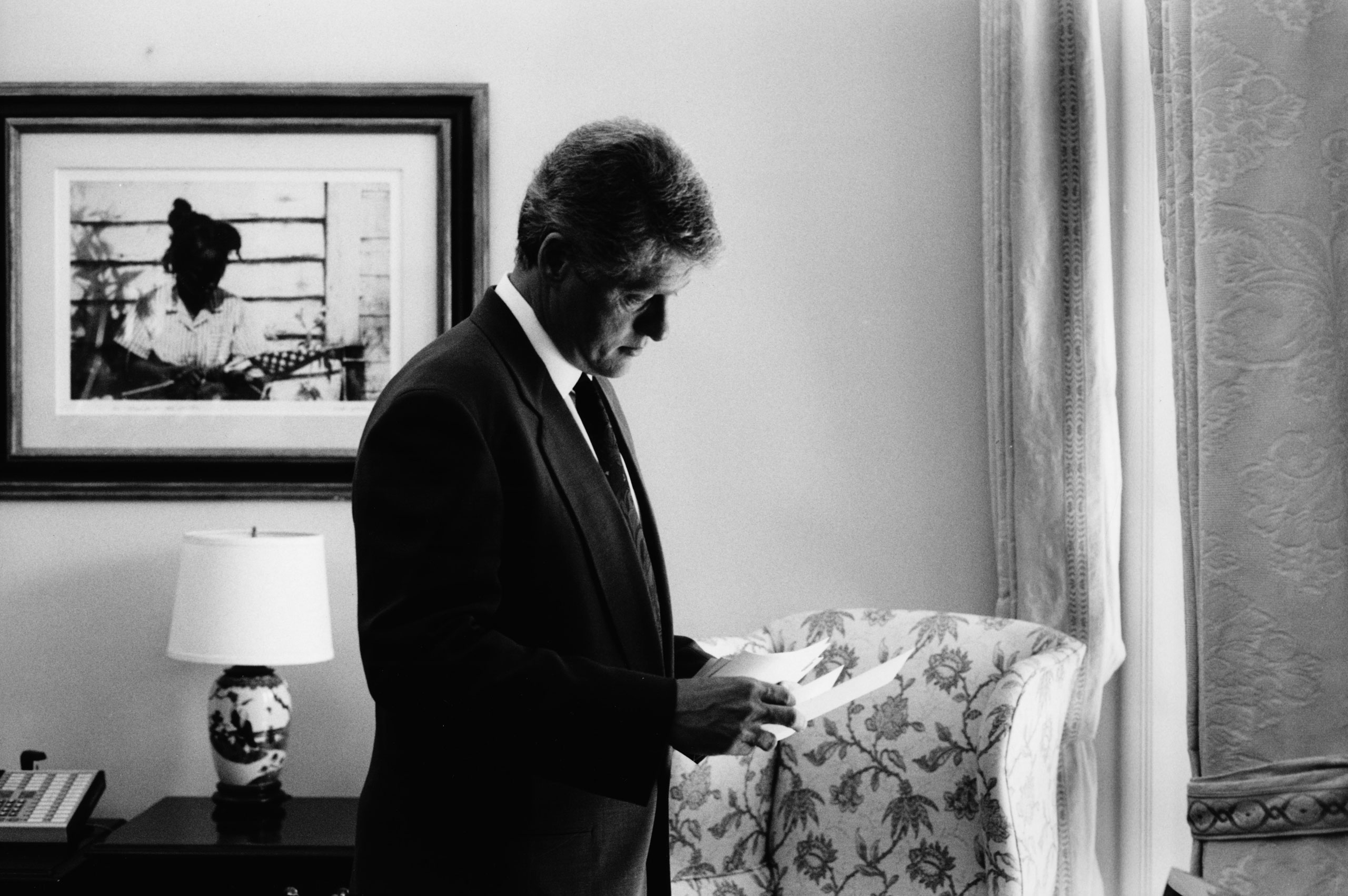 President Clinton in his secretary's outer office next to the Oval Office.