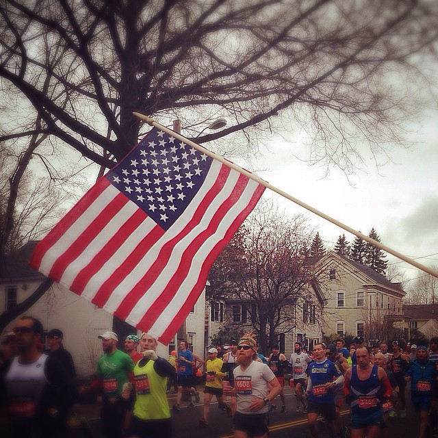 Amelia posted this image on Instagram, saying  Home of the free and the brave 🇺🇸 #Boston #BostonStrong #BostonMarathon #ProudToBeAnAmerican #Proud #PresidentsDay 💙💛💪