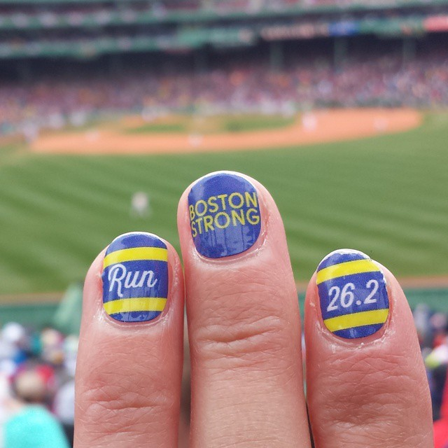 Classy Media shared some fun nail decorations for Marathon Monday.