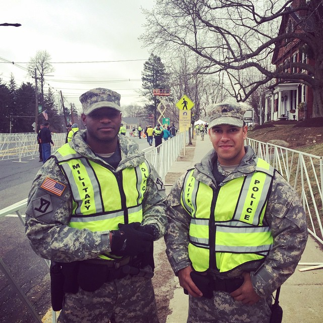 JaMarcus posted this photo on Instagram, saying  Out here at the Boston Marathon with my boy @fluna006 🚔 #BostonMarathon