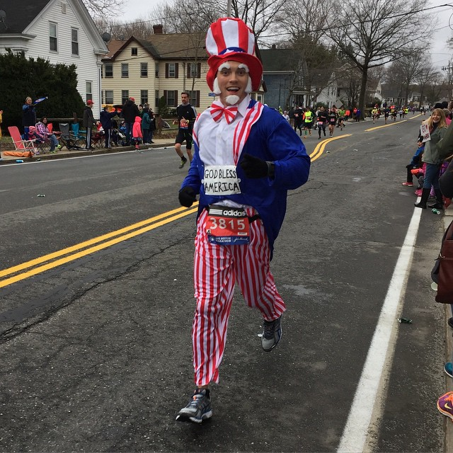 Tdaloisio posted a photo of 'Uncle Sam' running Boston #bostonmarathon