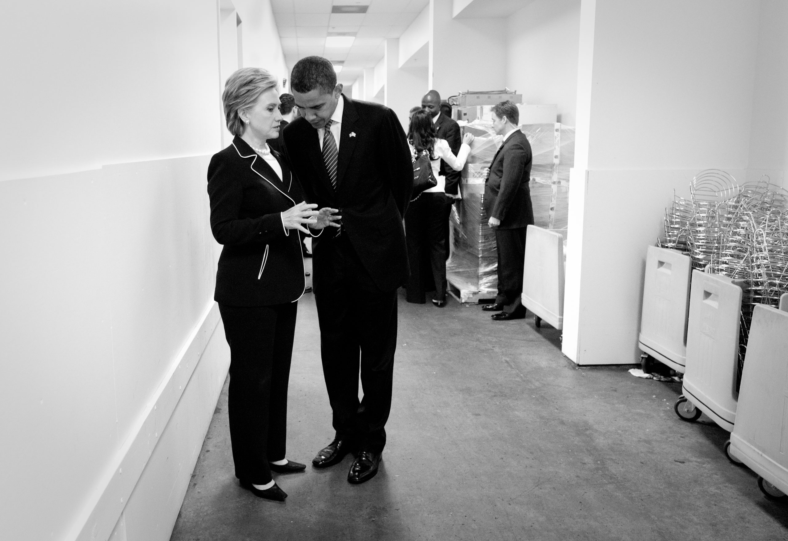 Sen. Clinton and Sen. Obama meeting unexpectedly in the back hall of the Washington convention center, the day after the last primary elections when it had become apparent that Obama had the most delegate votes, yet Clinton had not conceded.