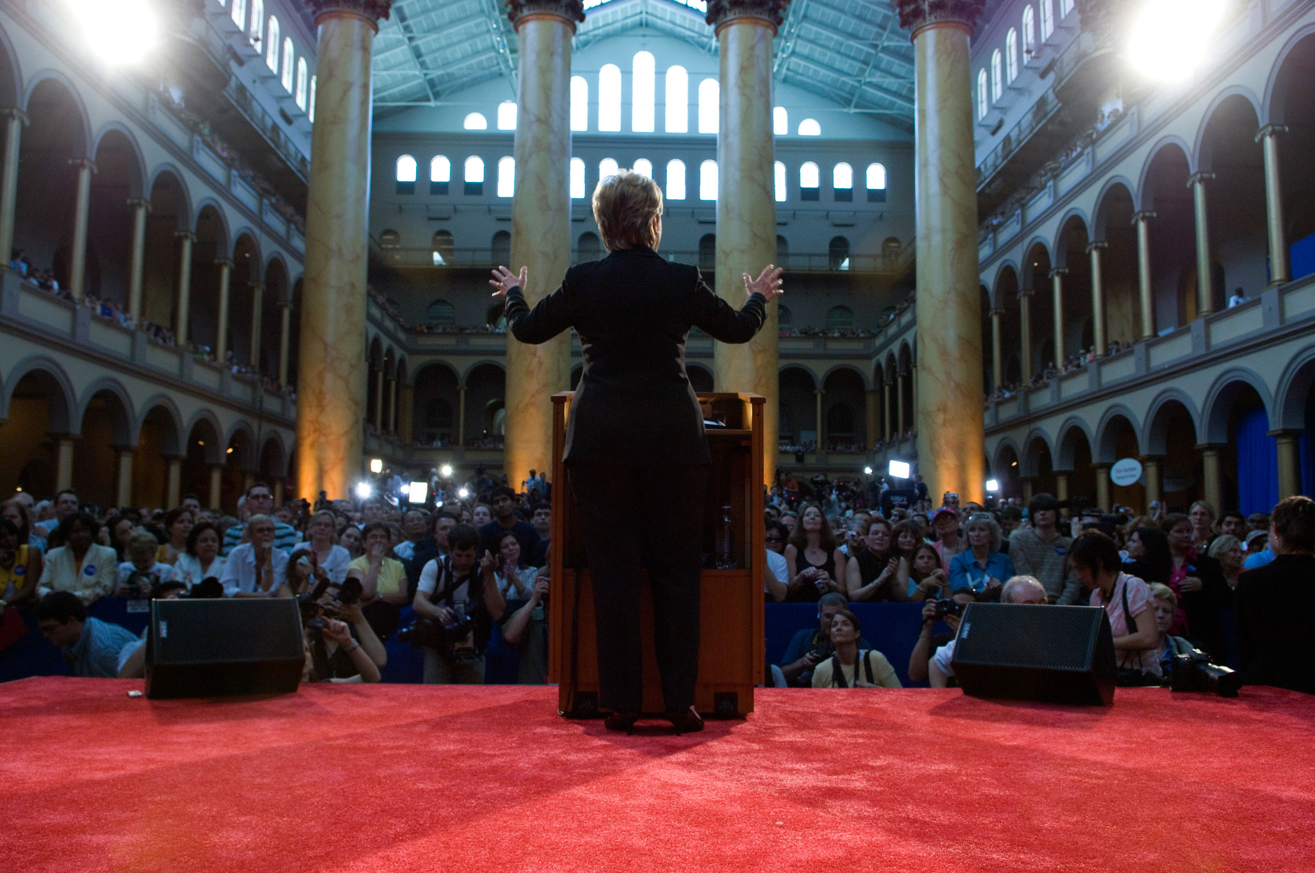 """Hillary Clinton's concession speech at the National Building Museum in Washington DC. The place was packed with her supporters as she gave her """"18 Million Cracks in the Ceiling"""" speech."""