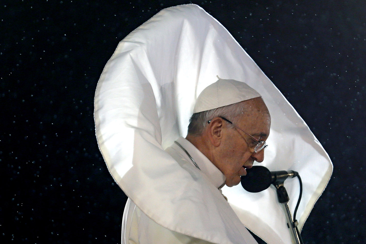Pope Francis addresses a World Youth Day crowd on Rio de Janeiro's Copacabana Beach on July 25, 2013. His trip to Brazil was his first foray abroad since being elected in March