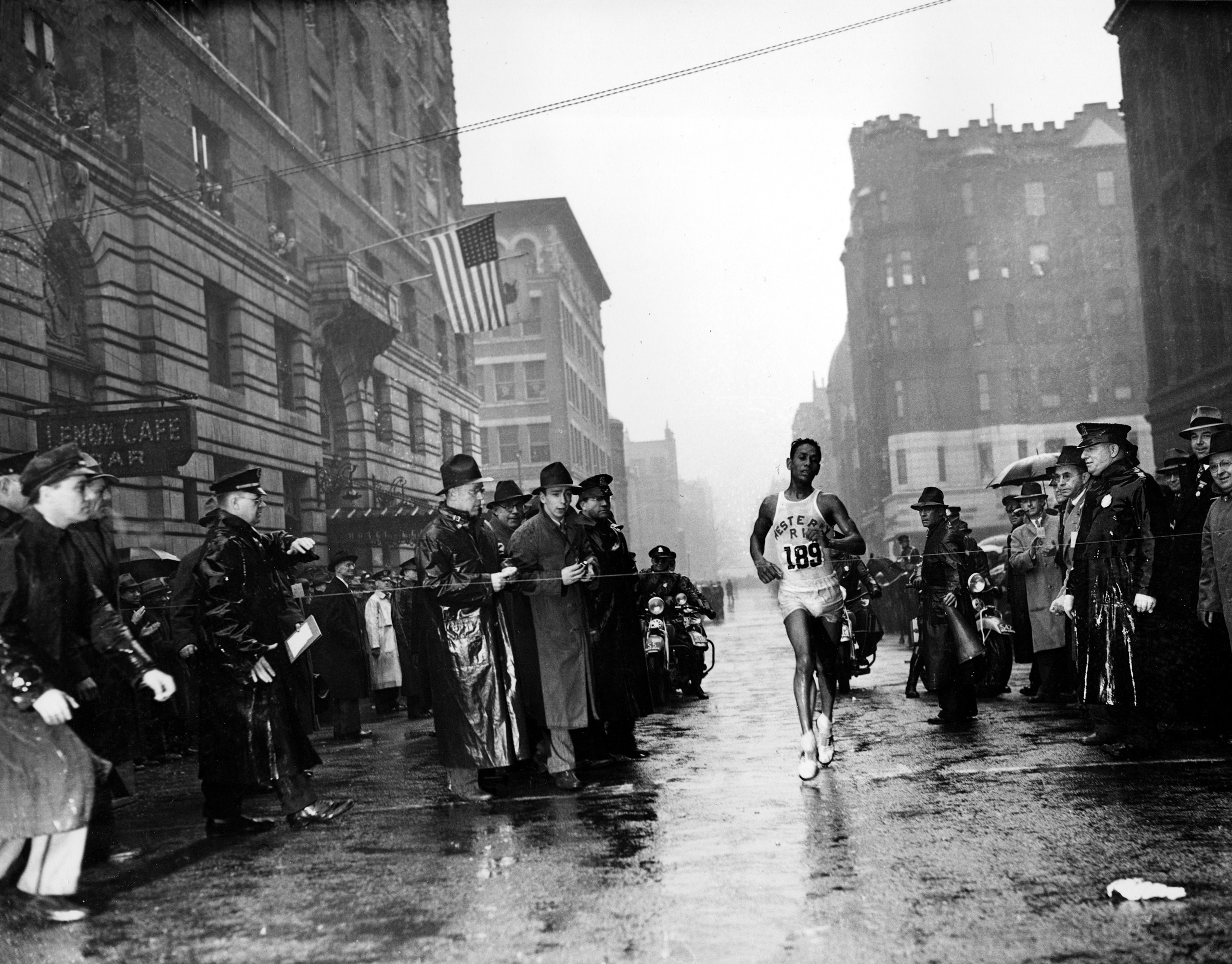 Ellison M.  Tarzan  Brown, from Alton, R.I., crosses the finish line in the 43rd Boston Marathon, in 1939. Brown finished the 26 miles, 385 yards in 2 hours, 28 minutes and 51.8 seconds, breaking the marathon world record.