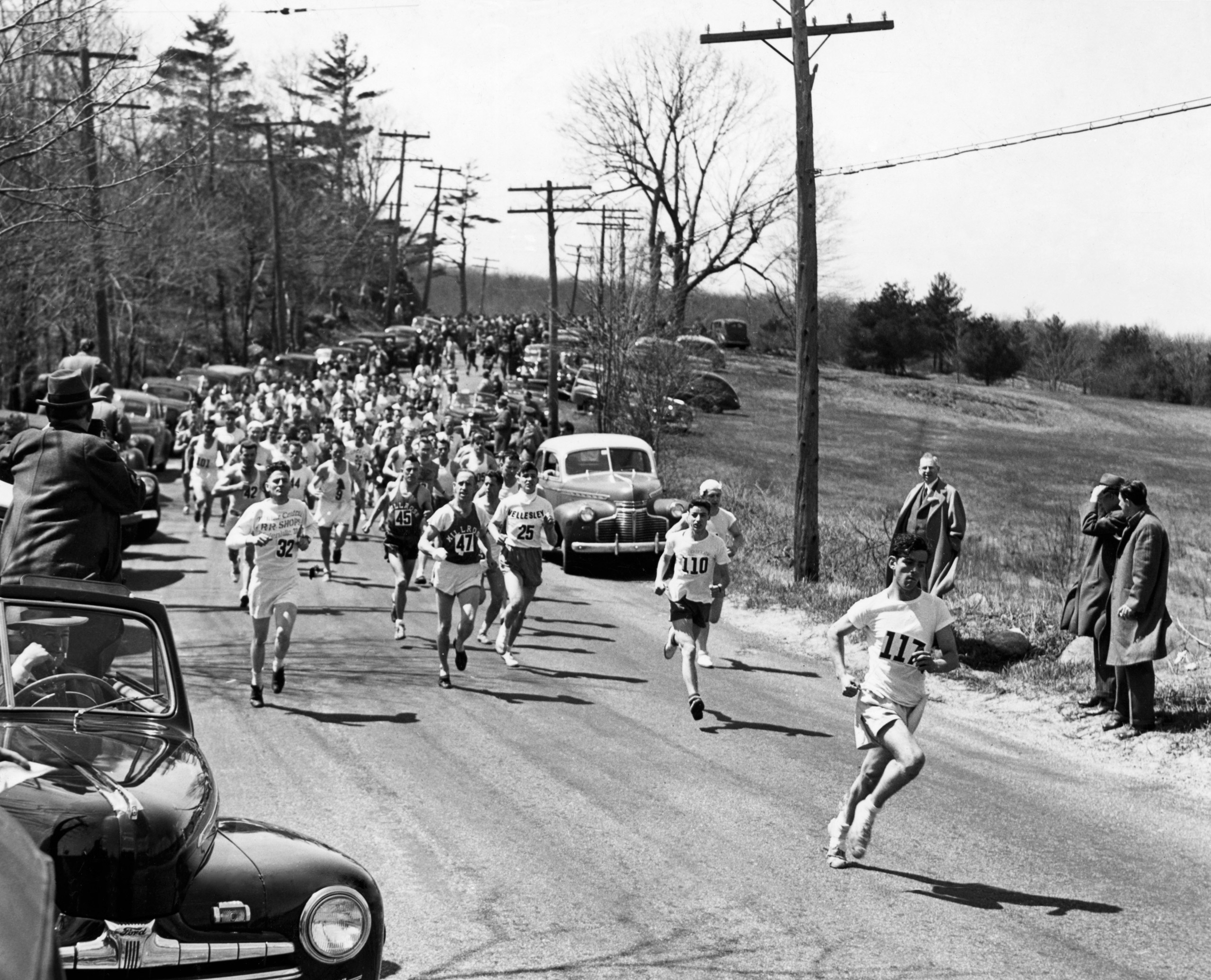 Boston Marathon, 1946. The race was won by Stylianos Kyriakides from Athens, Greece.