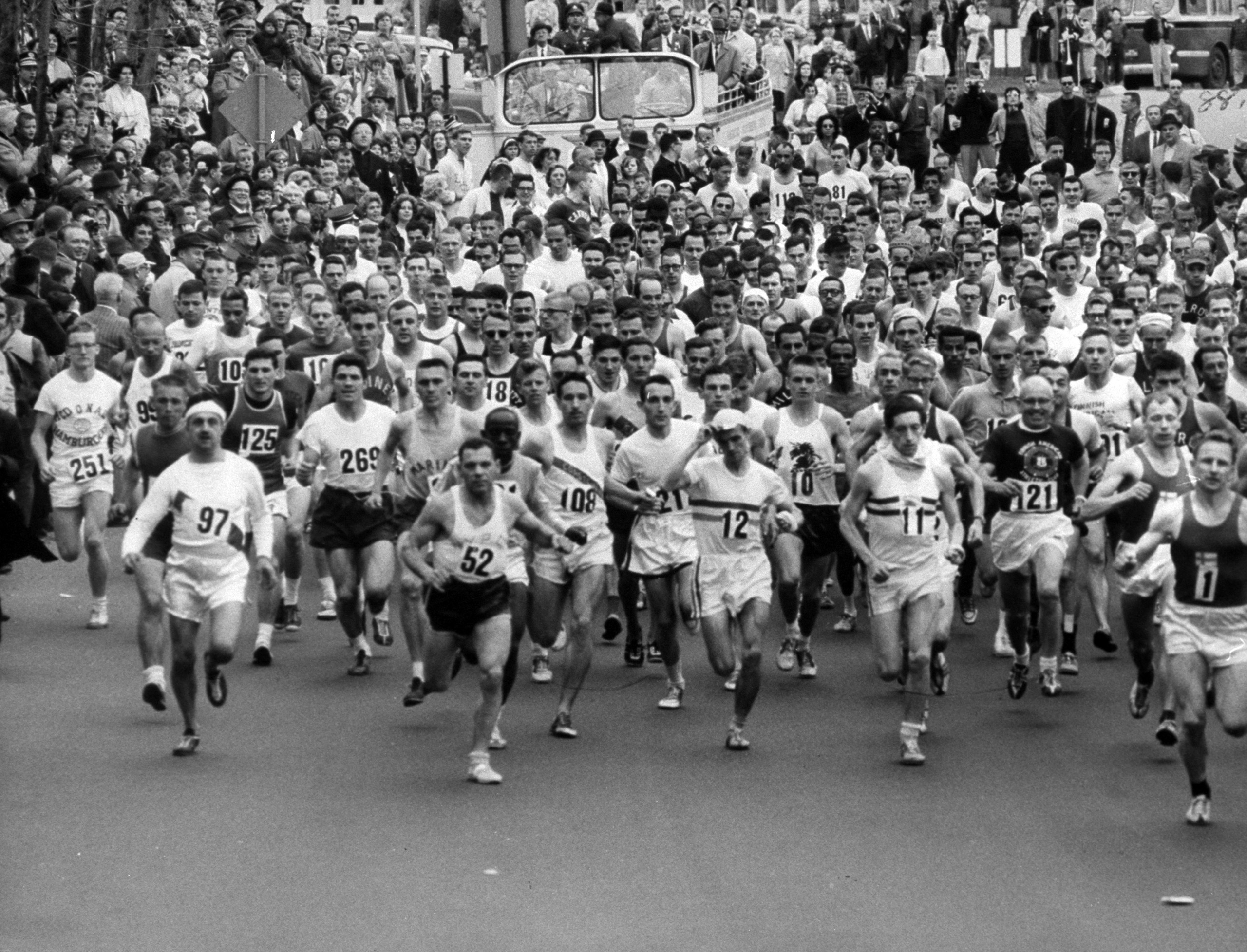 237 runners competing in the annual Boston Marathon crossing the starting line, in 1963.